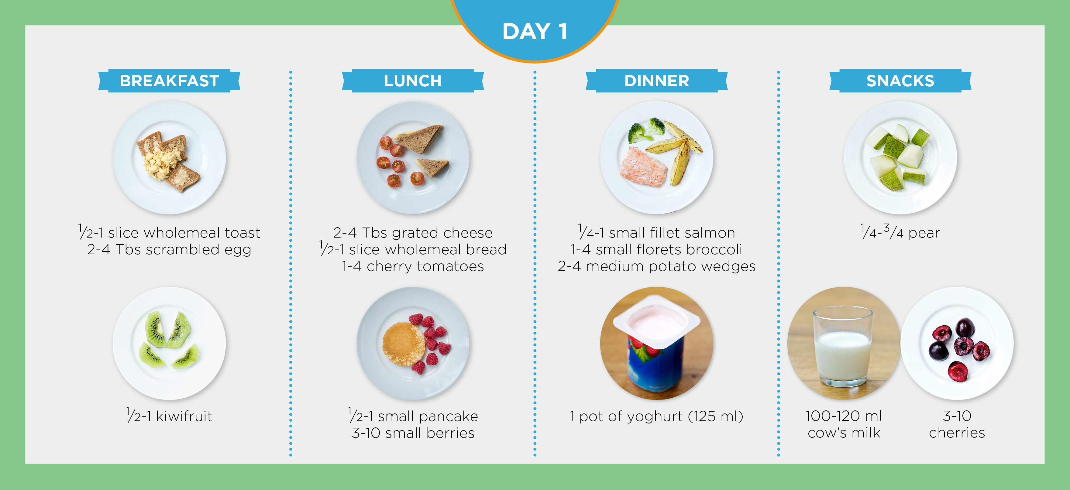 A diagram shows a day's suggested toddler meals