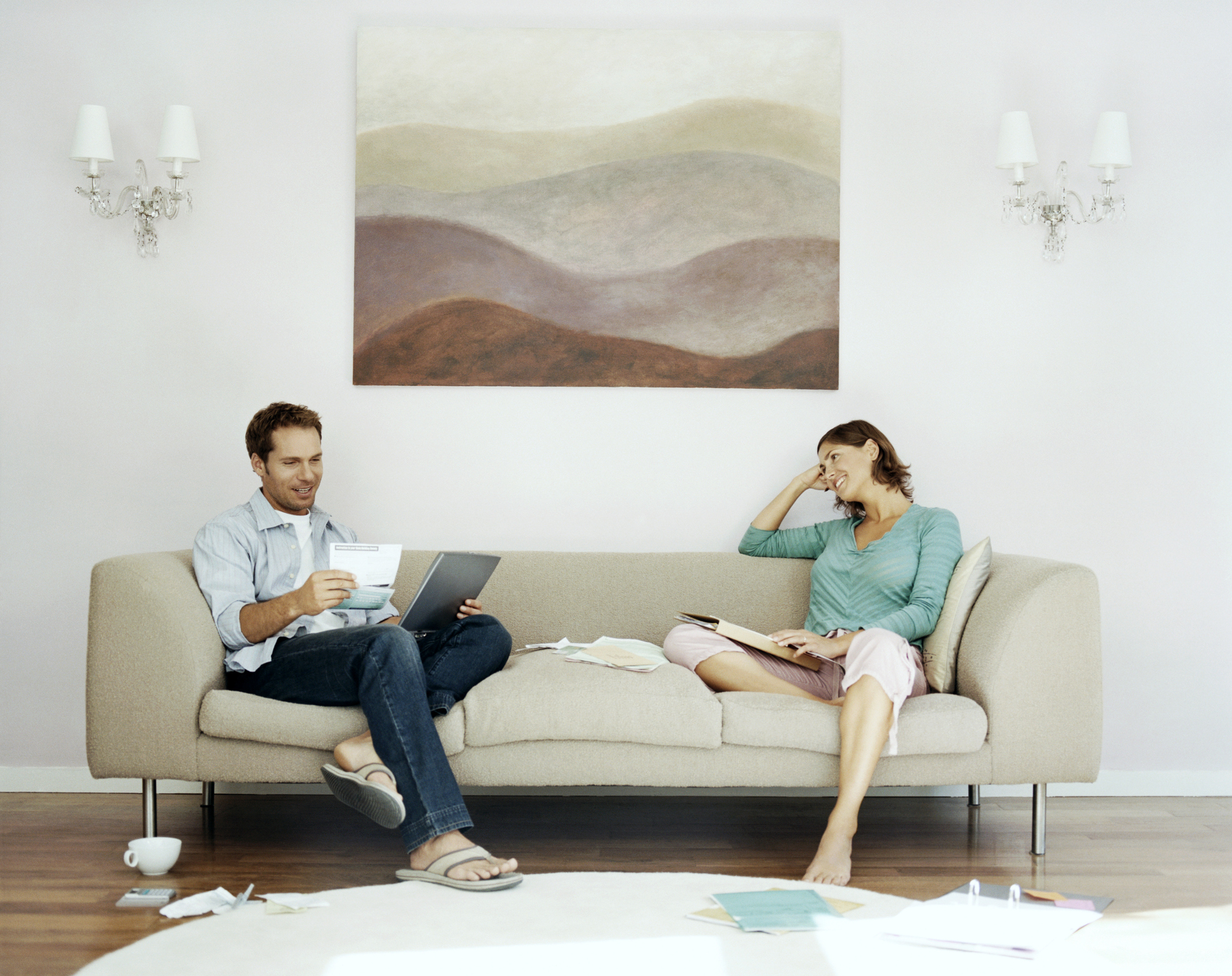 Couple sitting together budgeting