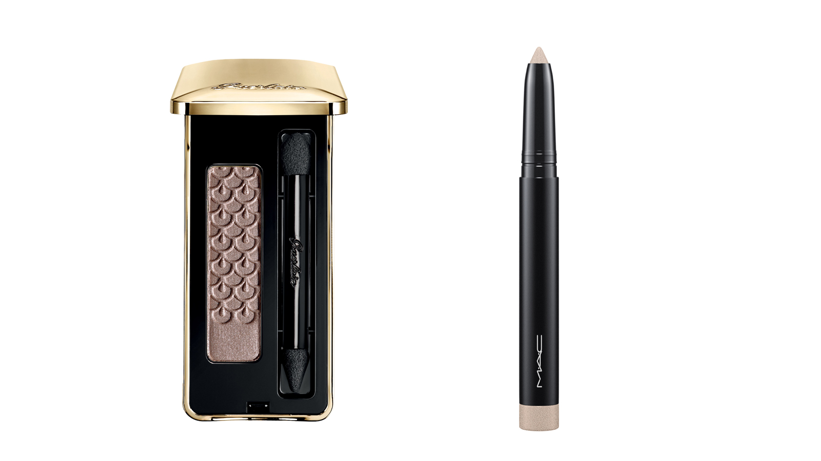 Guerlain Écrin 1 Couleur Long Lasting Eyeshadow in Taupe Secret and MAC Pro Longwear Waterproof Colour Stick in Bleached Out Beige