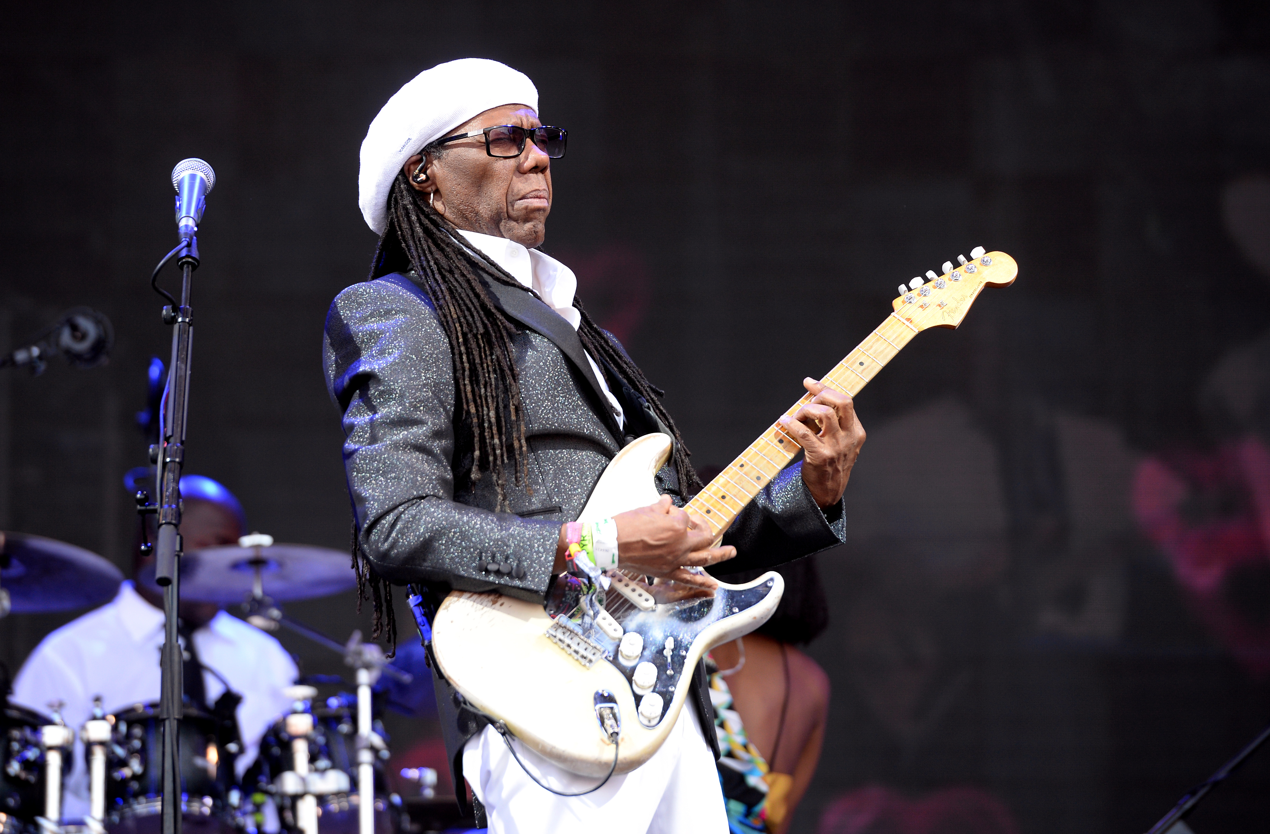 Nile Rodgers and Chic performing on the Pyramid Stage at Glastonbury