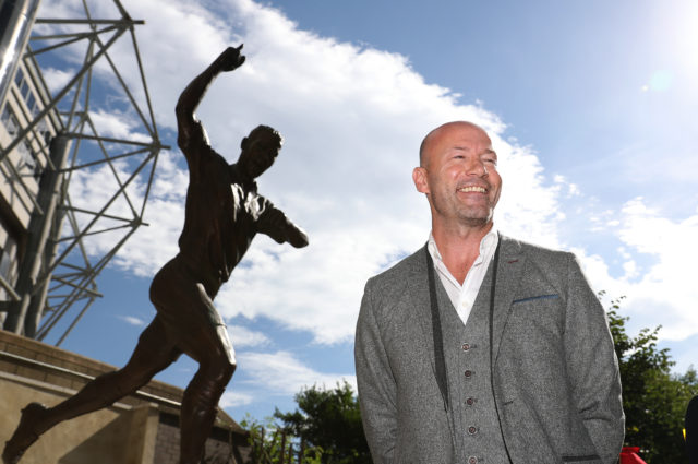 Alan Shearer with his statue
