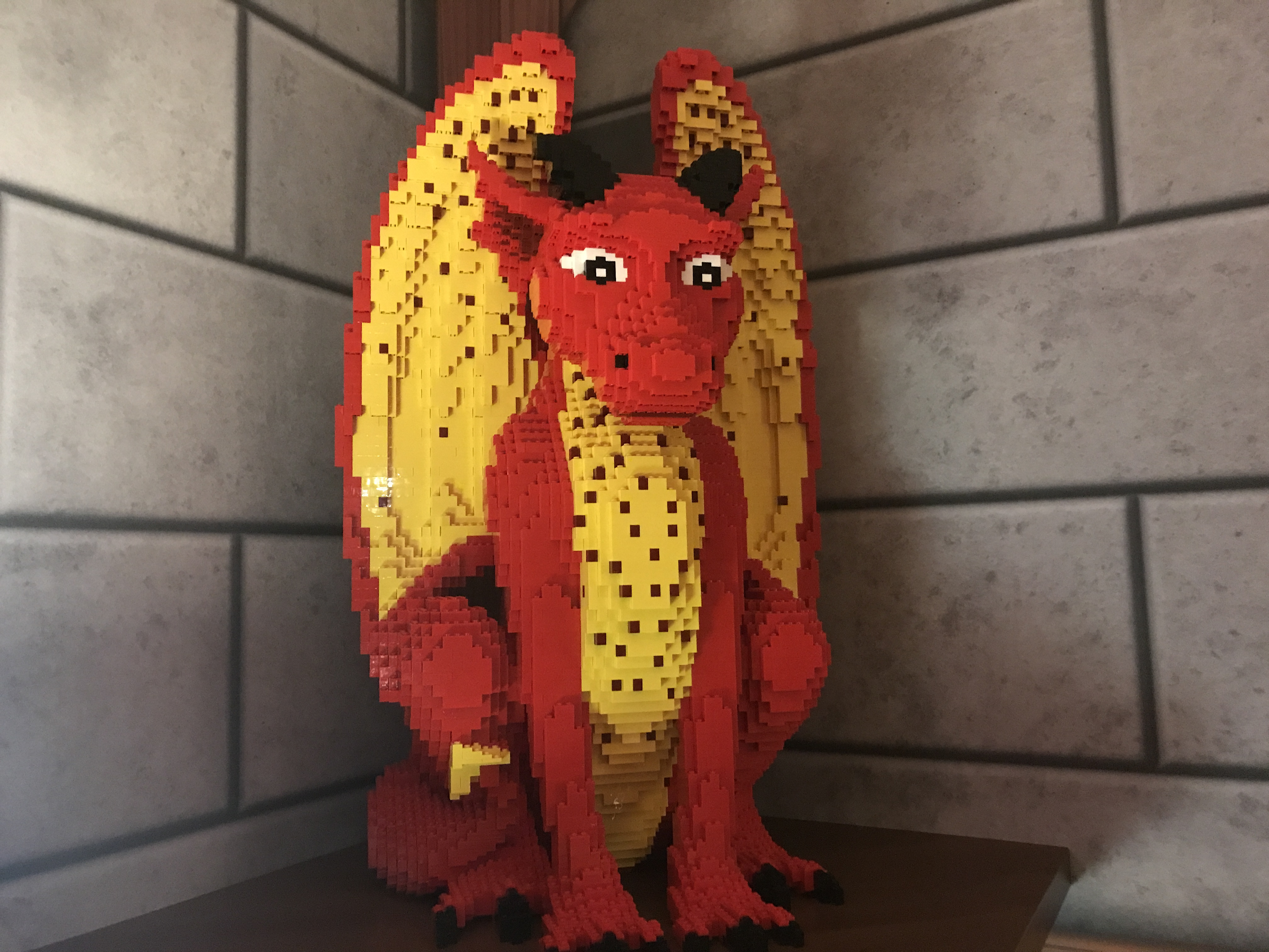 A red Lego dragon in the Knight's room at the Legoland Castle Hotel (Kate Whiting/PA)