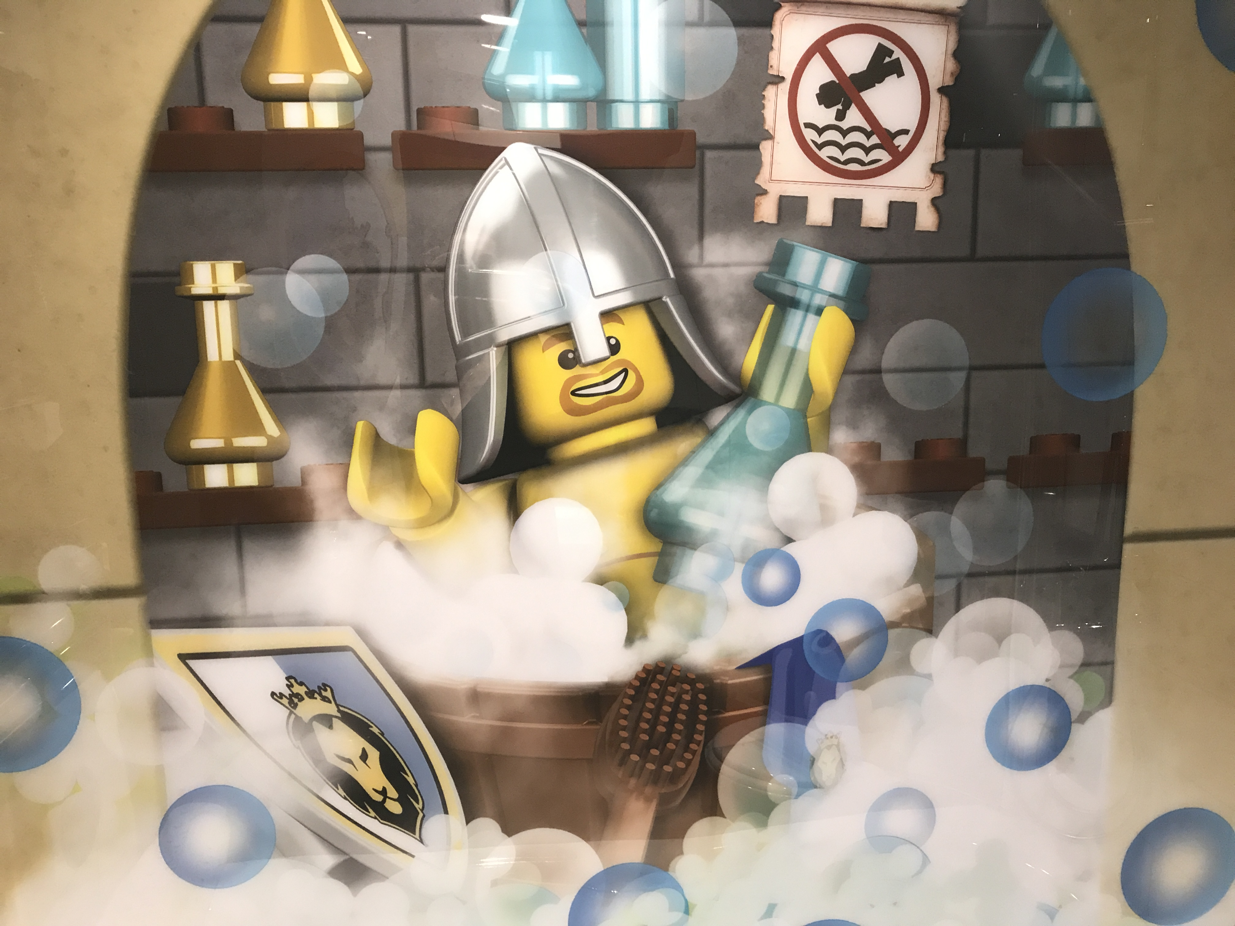 A Lego night splashes in a bubble bath (Kate Whiting/PA)