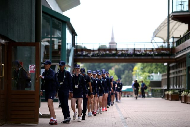 Ball boys and girls on day ten of the Wimbledon Championships 2016 at the All England Lawn Tennis and Croquet Club, Wimbledon.