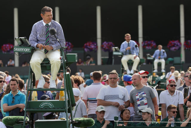 Umpires on courts 5, 6 and 7, during day four of the Wimbledon Championships at the All England Lawn Tennis and Croquet Club, Wimbledon 2015.
