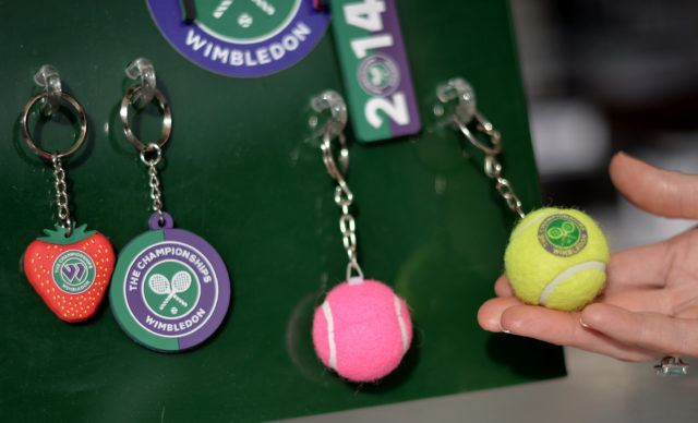 Keyrings for sale at a Wimbledon shop during day three of the Wimbledon Championships at the All England Lawn Tennis and Croquet Club, Wimbledon 2014.