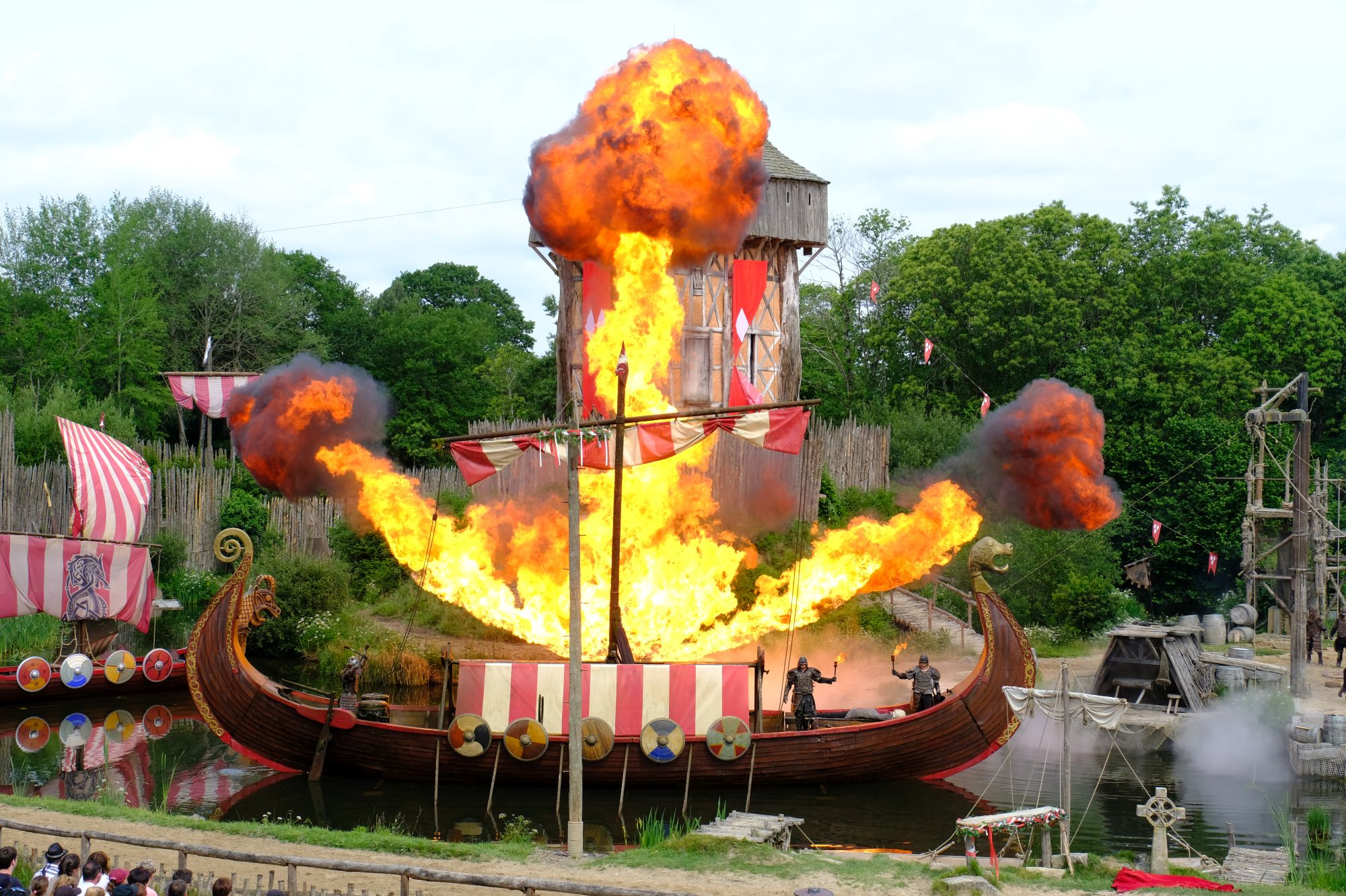 A viking ship in flames at the Puy du Fou theme park.