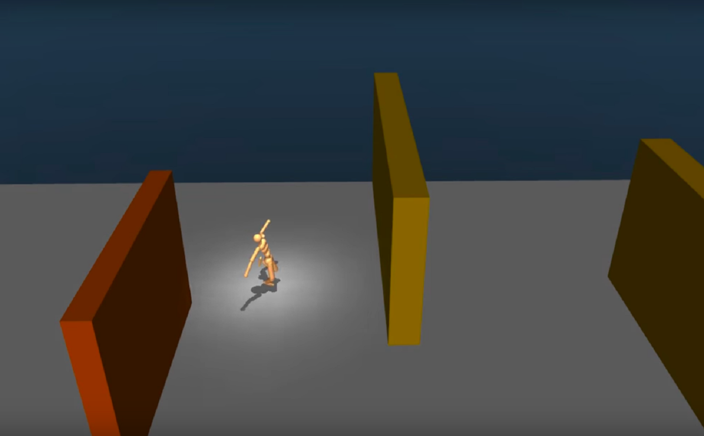 The humanoid figure running through obstacles