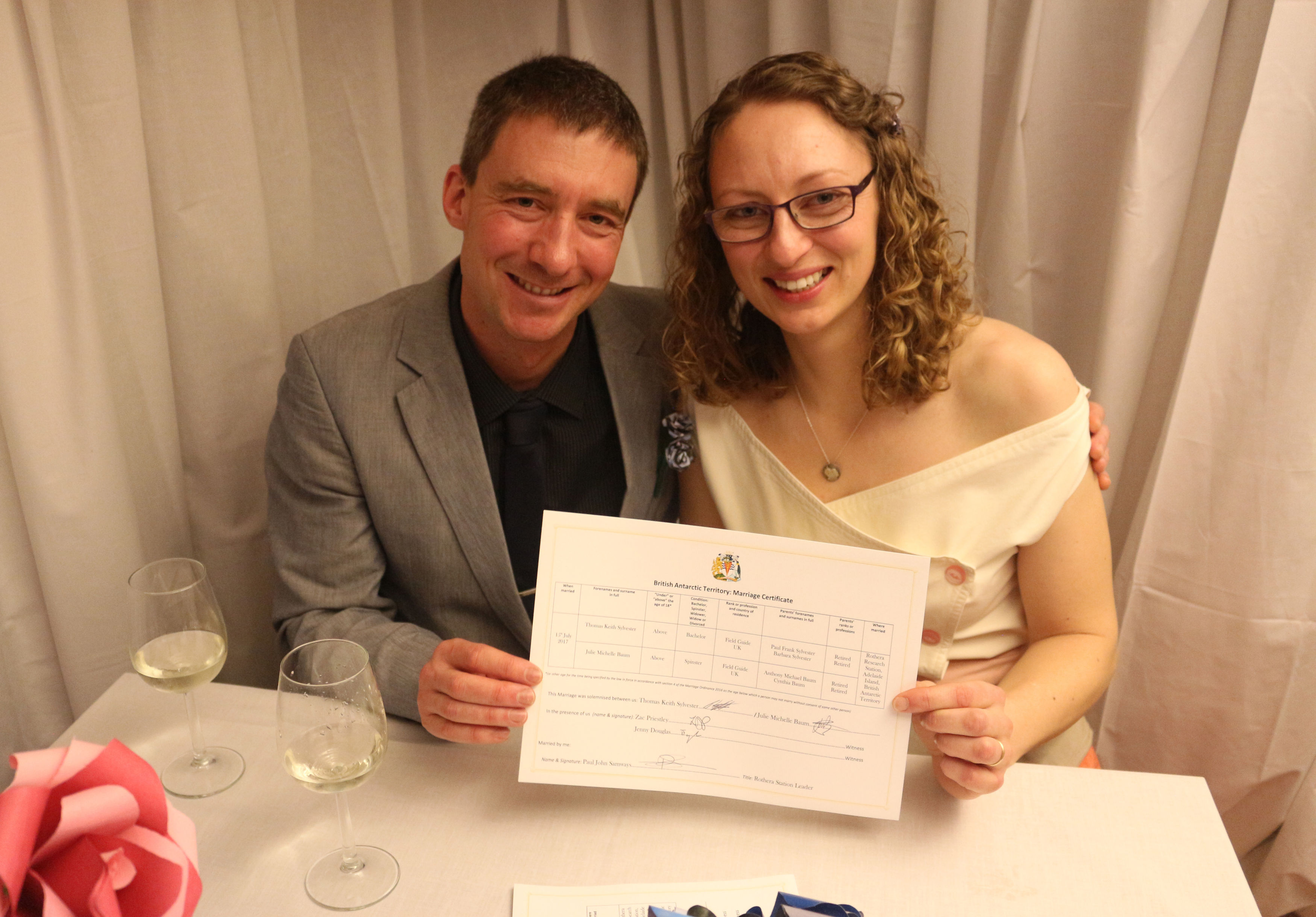 The couple with their certificate