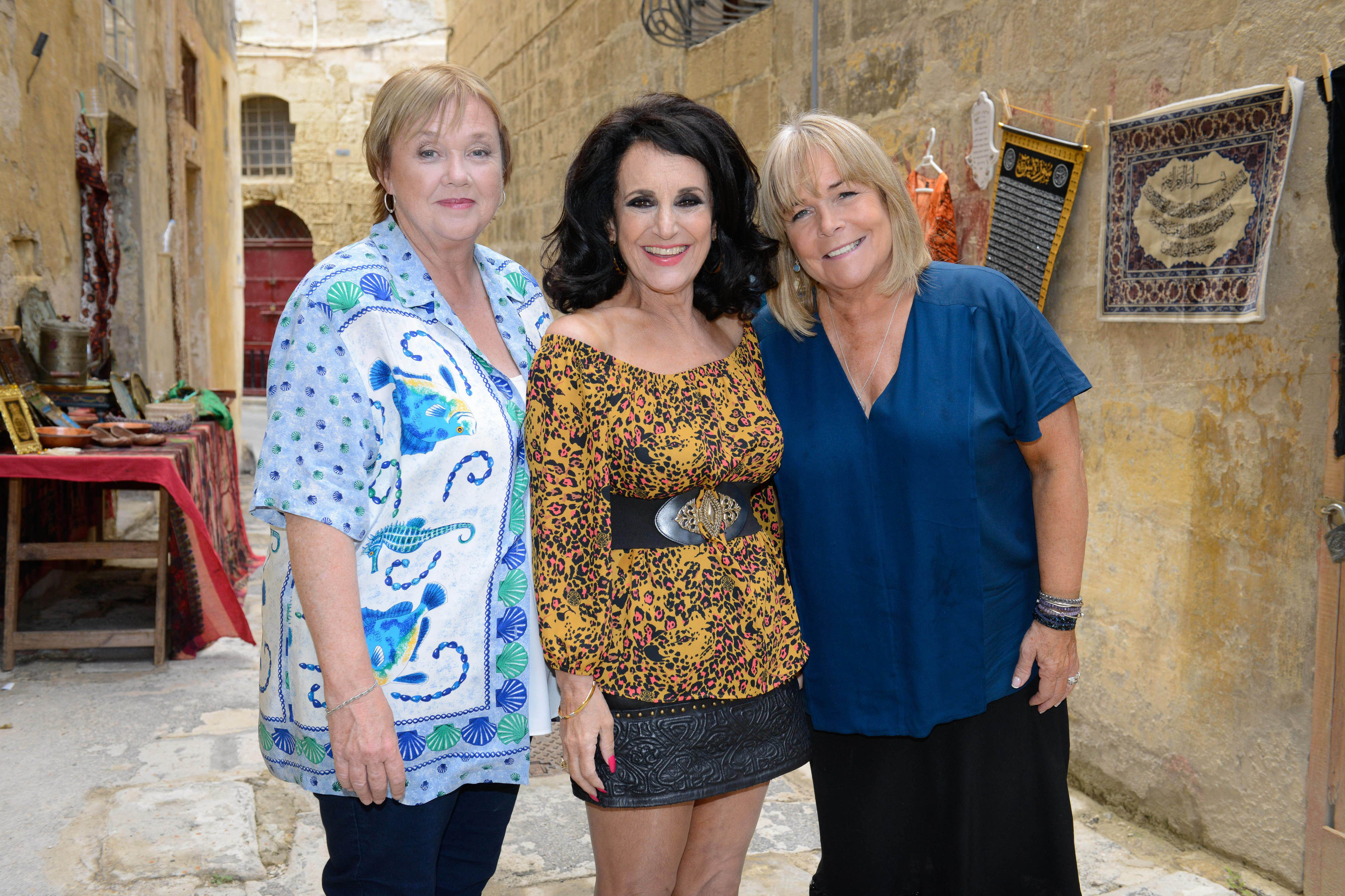 Pauline Quirke, Lesley Joseph and Linda Robson filming the return of Birds Of A Feather (ITV/Press Association Images)