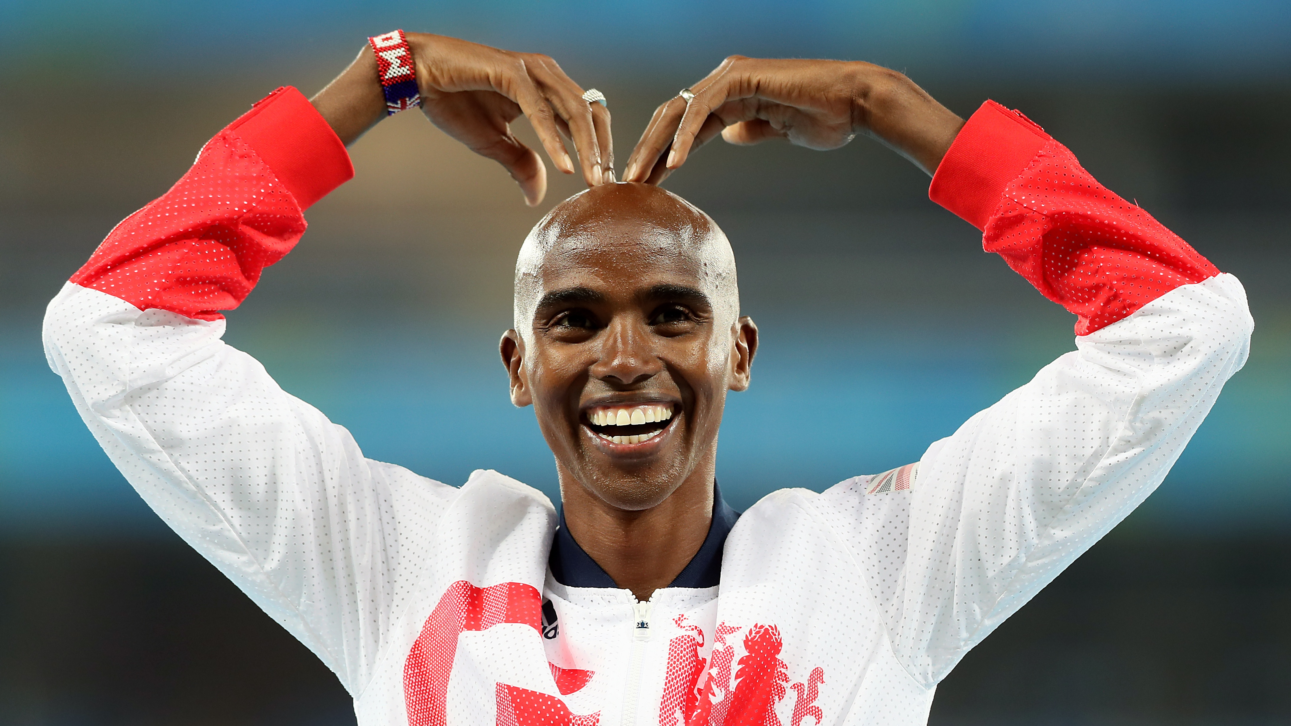 Mo Farah performs the Mobot at the 2016 Rio Olympics