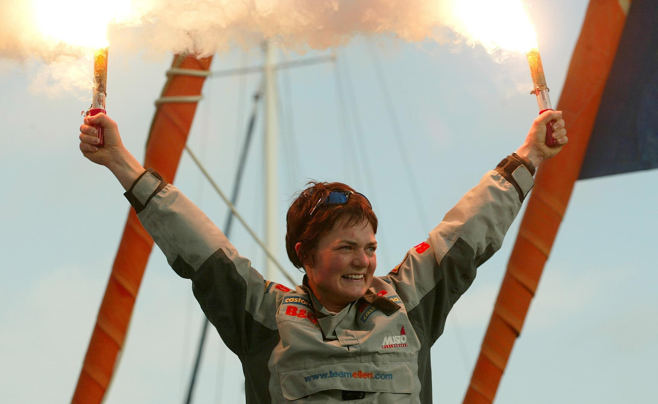 Dame Ellen MacArthur celebrates becoming the fastest person to circumnavigate the globe single-handed