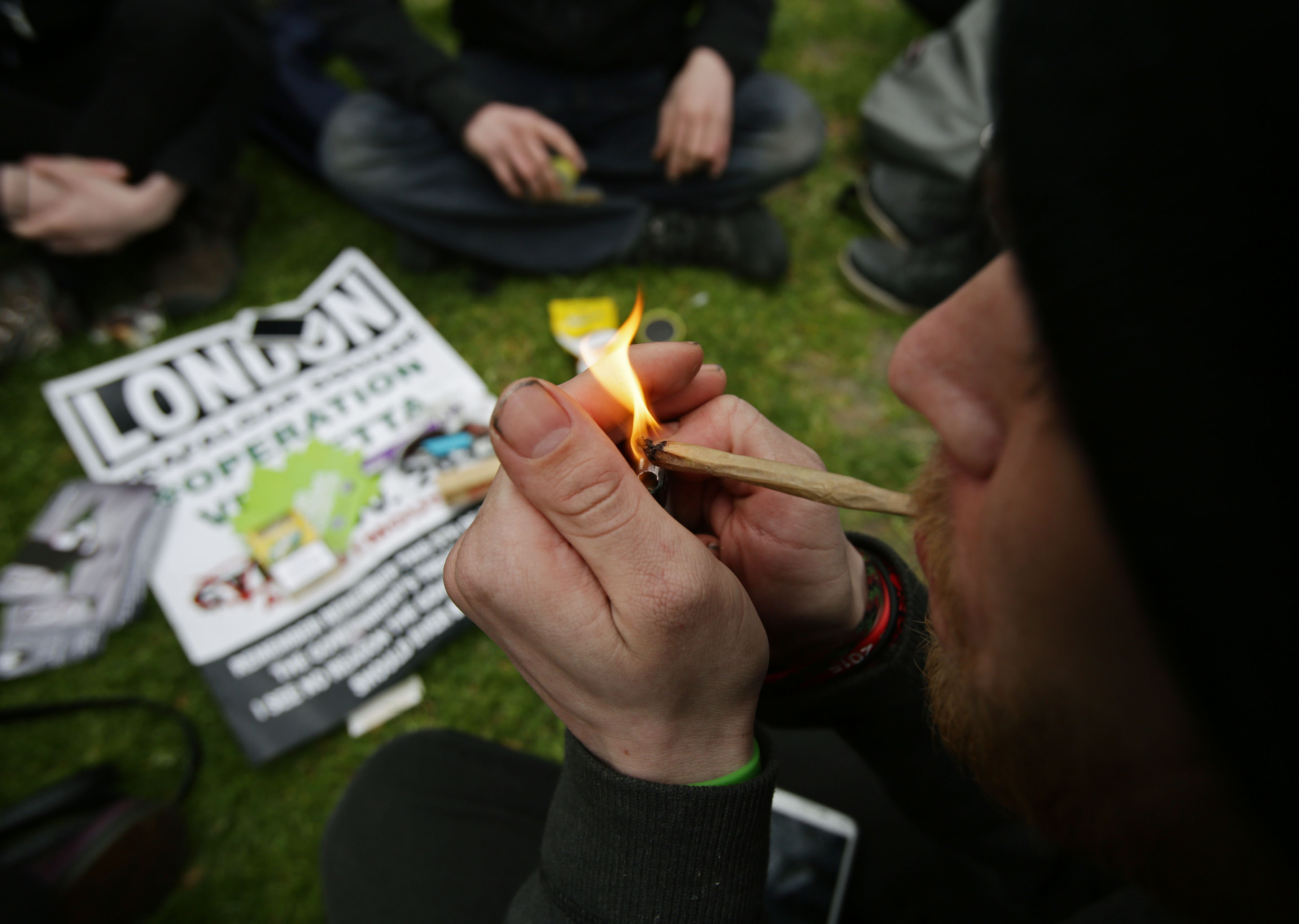 A man smoking at the '420 Celebration' pro-cannabis event