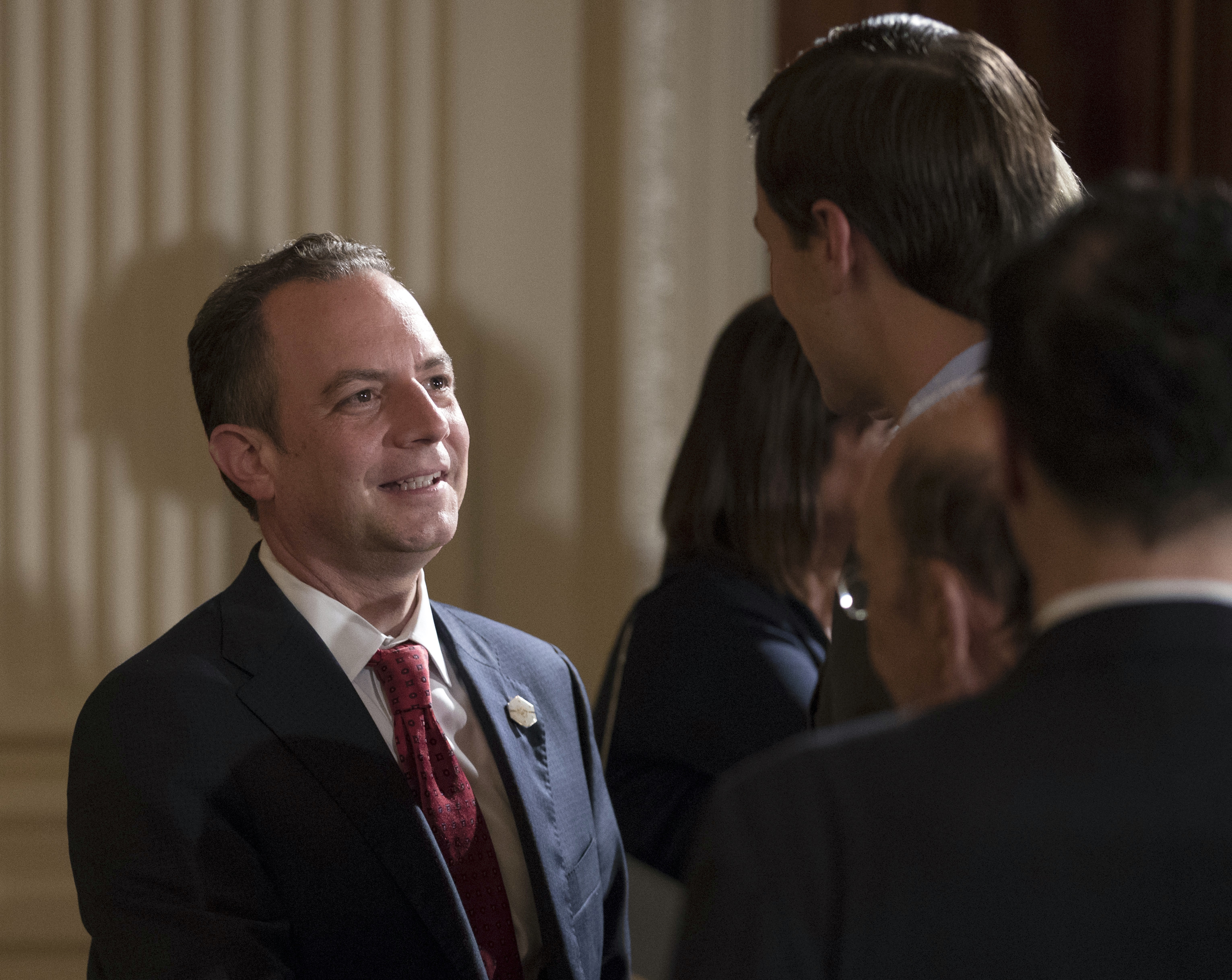 "FILE - In this July 26, 2017 file photo, White House Chief of Staff Reince Priebus talks with White House senior adviser Jared Kushner in the East Room of the White House in Washington. New White House communications director Anthony Scaramucci went after Priebus Thursday, July 27, 2017, as a suspected ""leaker"" within the West Wing in a pull-no-punches interview that laid bare the personality clashes and internal turmoil of Donald Trump's presidency. (AP Photo/Carolyn Kaster, File)"