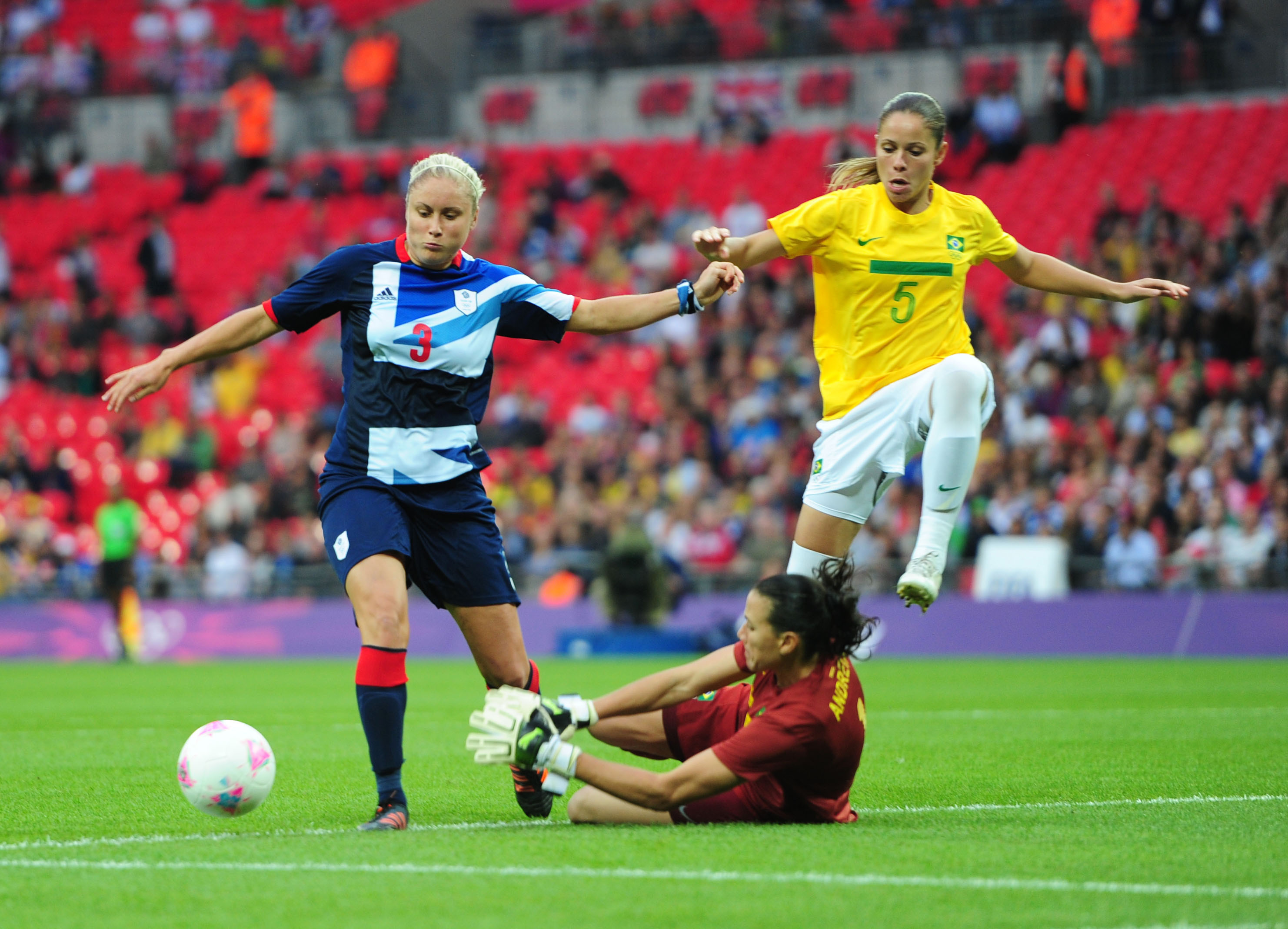 Team GB's Steph Houghton scores against Brazil at the 2012 London Olympics