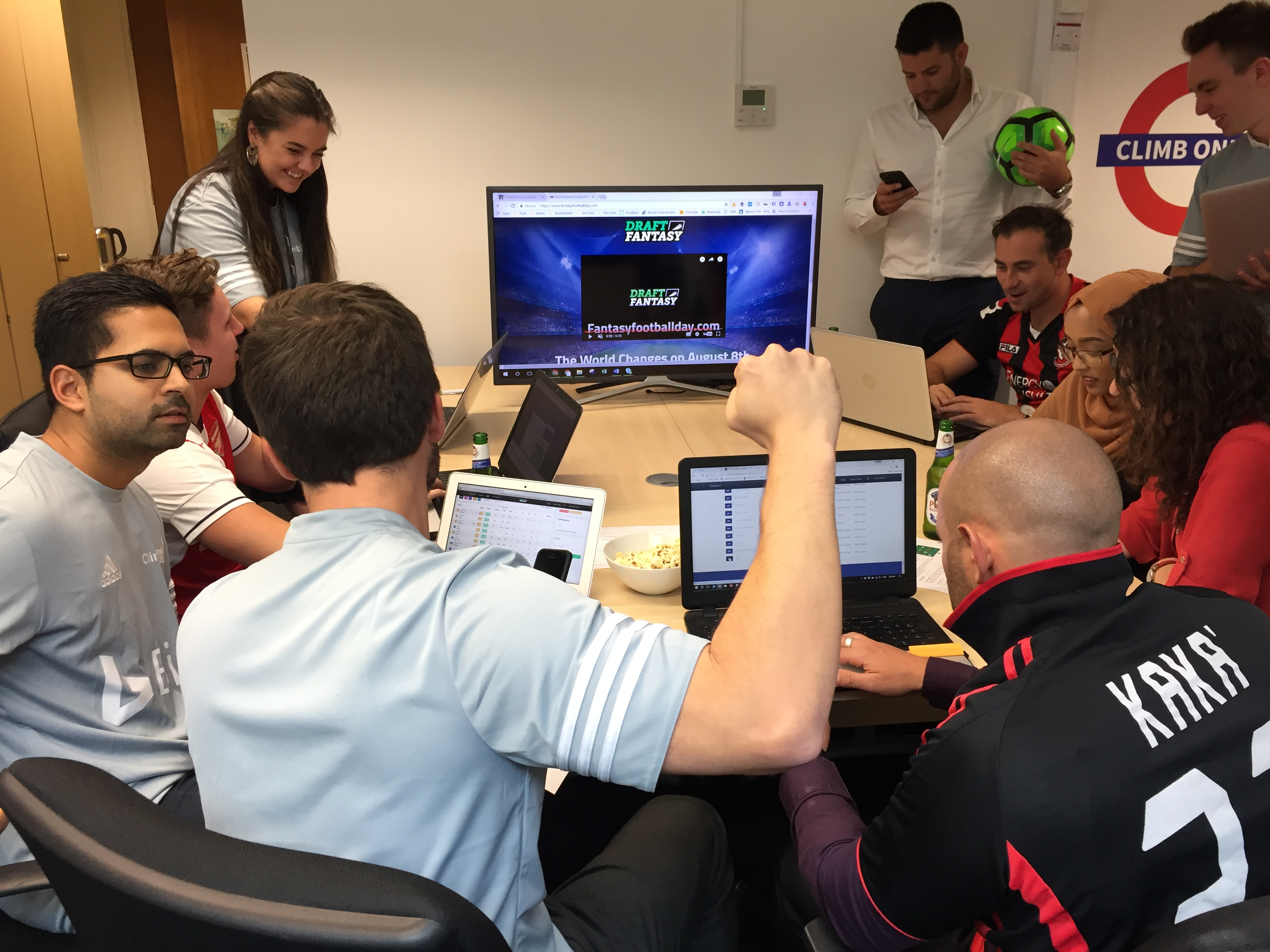Apprentice winner Mark Wright and Climb Online employees enjoy time off on Fantasy Football Day to pick their teams for the season