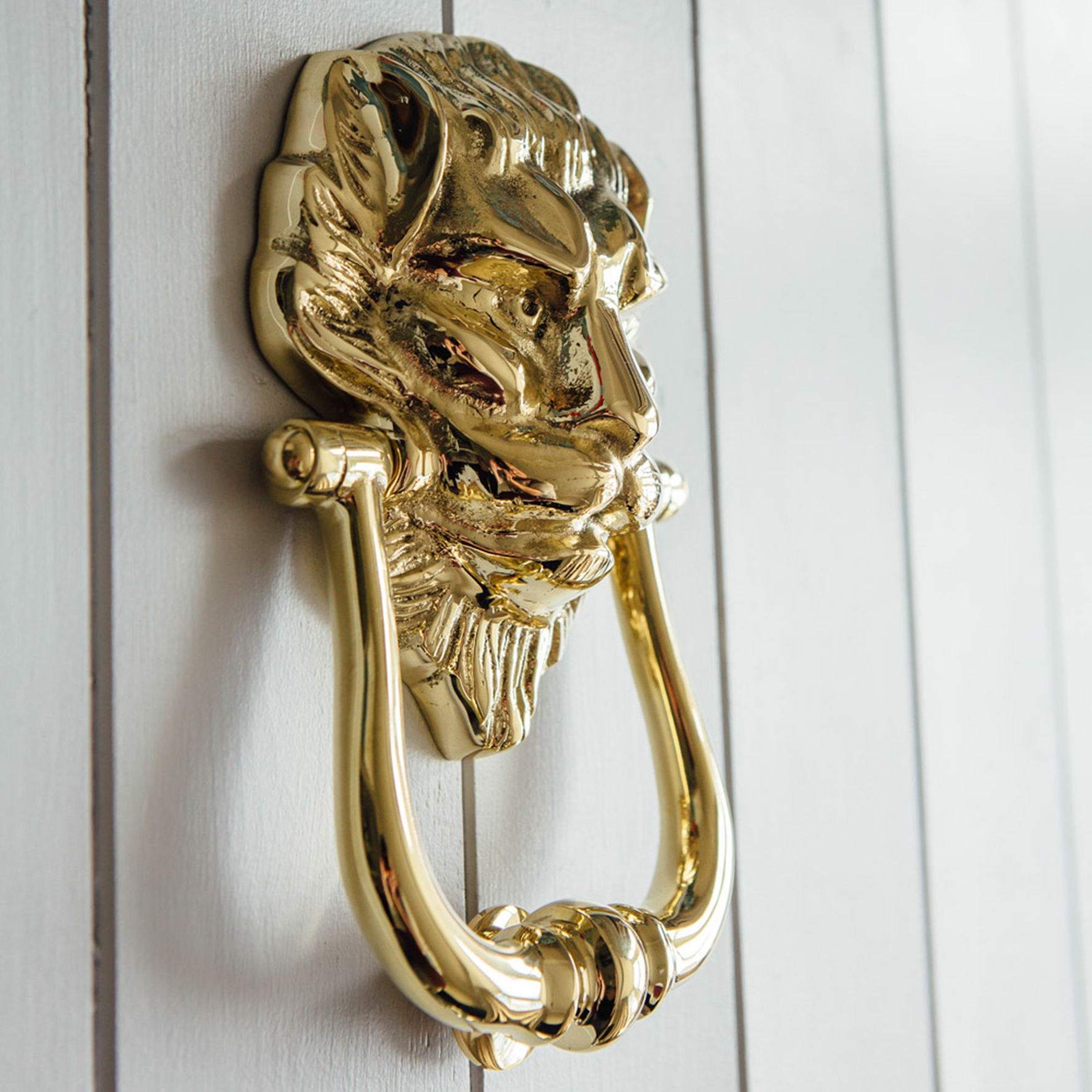 Empire lion's head door knocker, brass, £66.50, Grace & Glory Home (Grace & Glory Home/PA)