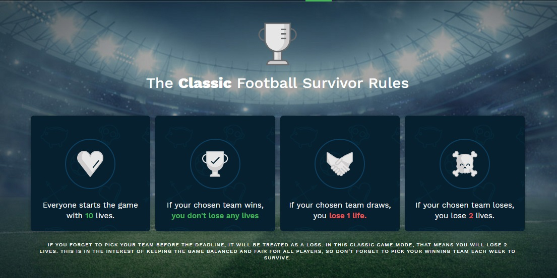 The rules of football survivor