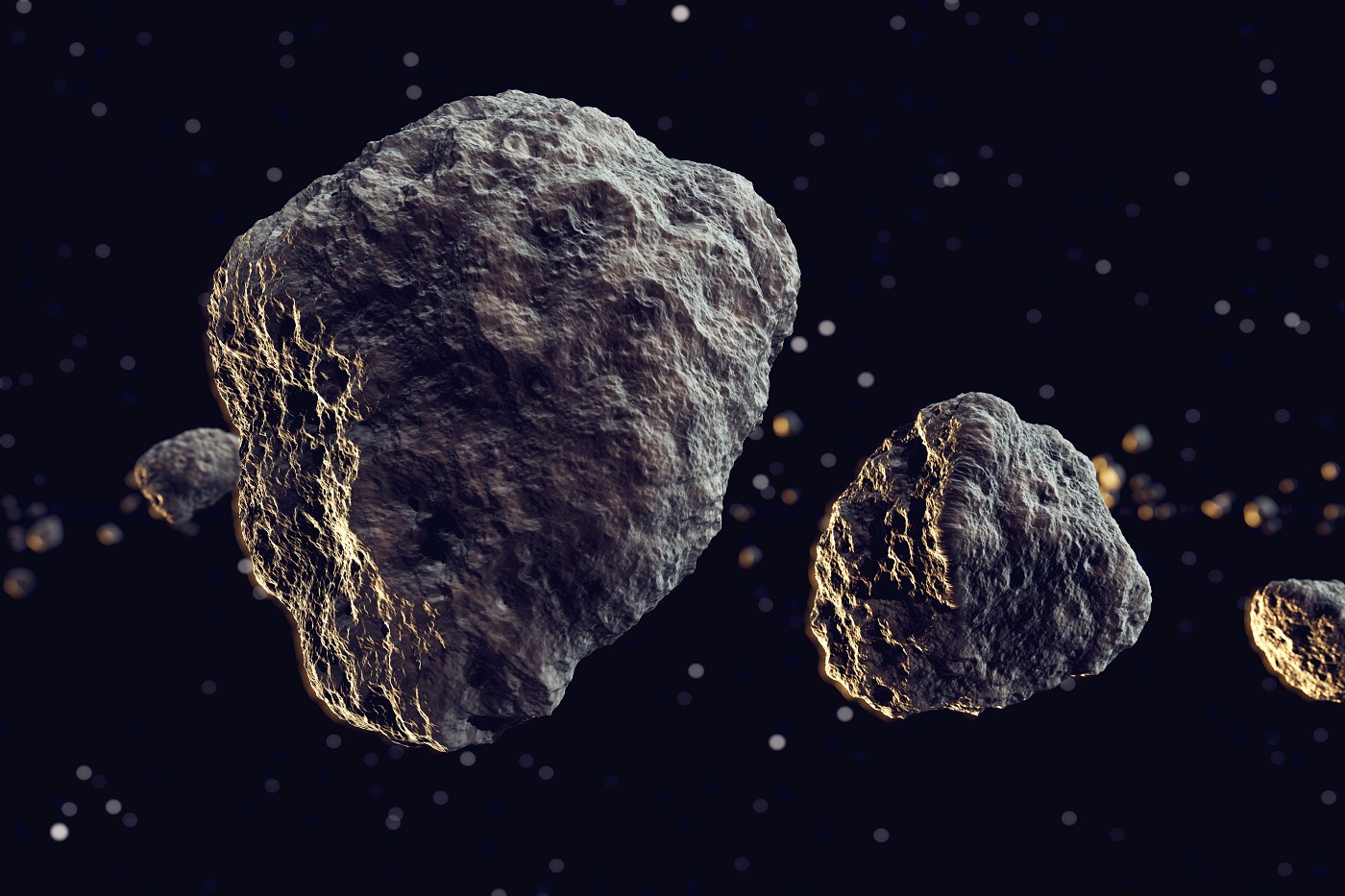 Closeup on meteor lumps in space. Dark background. Suitable for any fantasy, astronomy or space related purposes.
