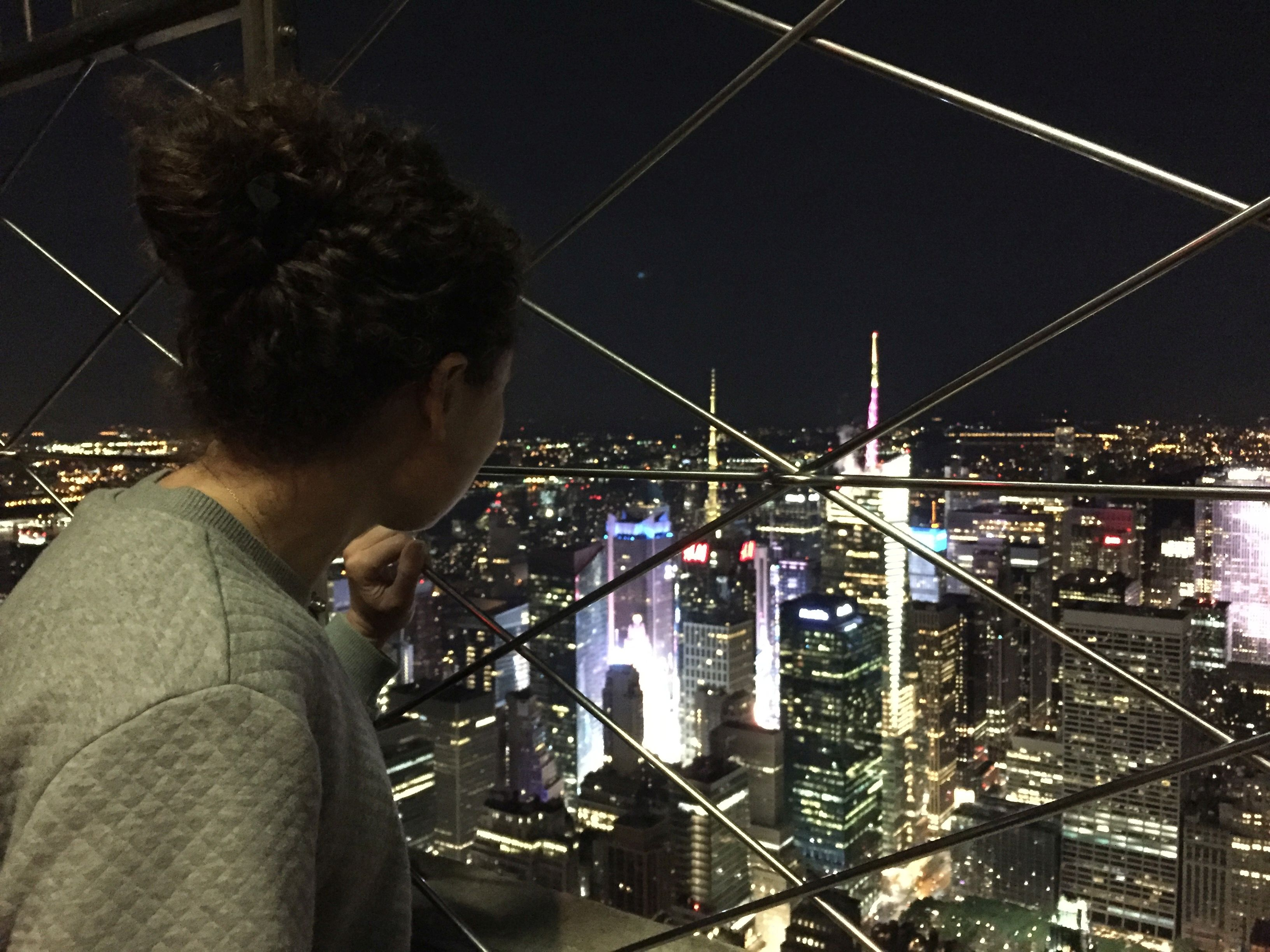 Admiring the view of New York at night from the Empire State Building (Sarah Marshall/PA)