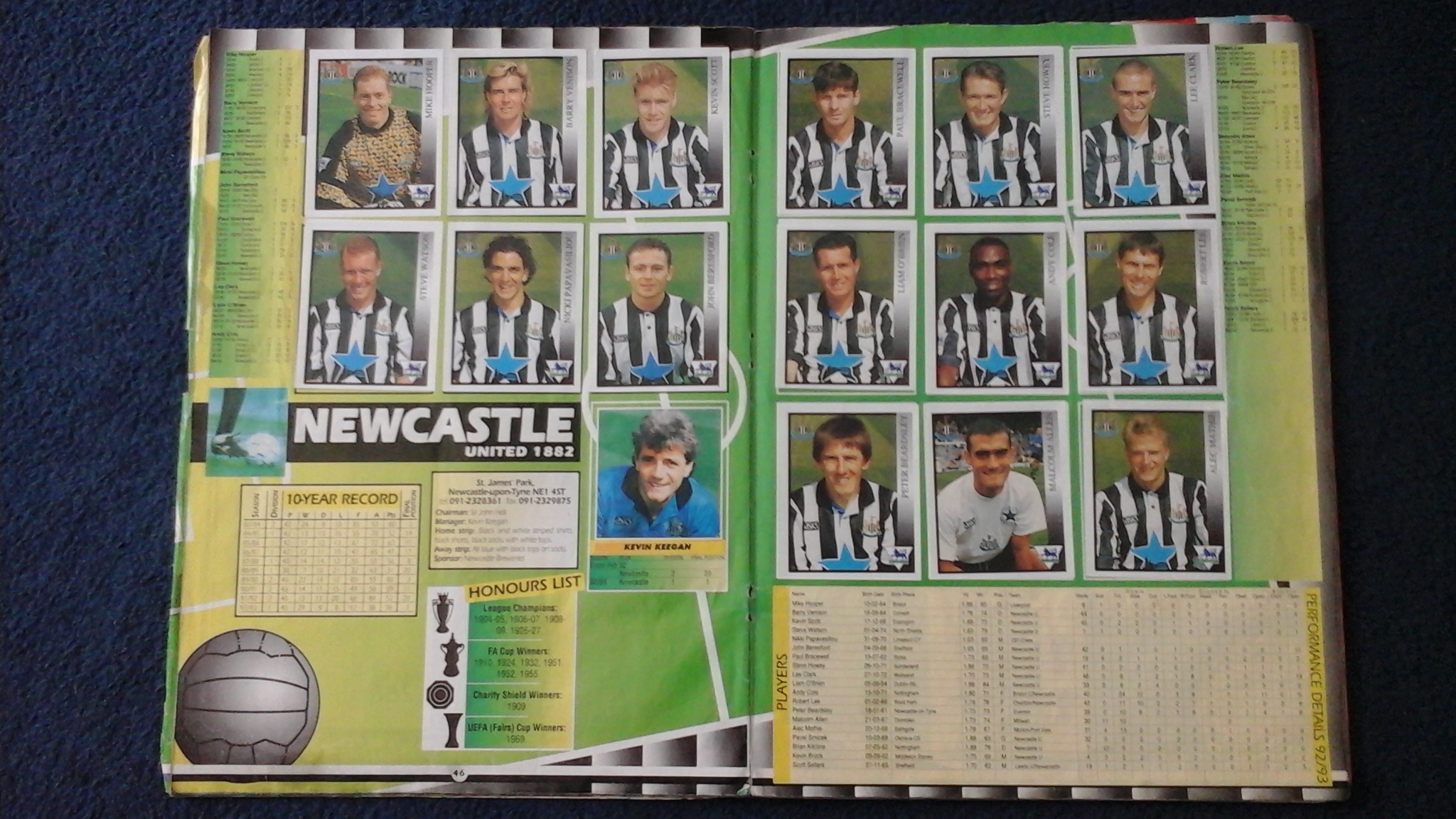 Newcastle footballers in a 1990s Premier League sticker book