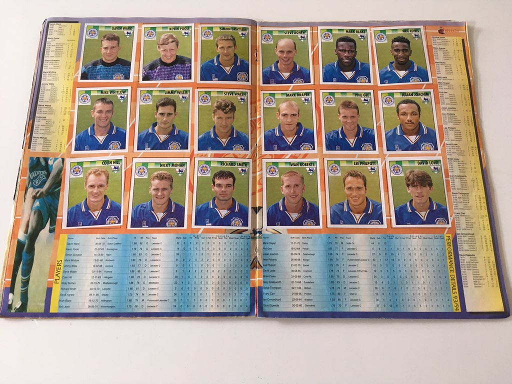 A Premier League sticker album from the 1990s