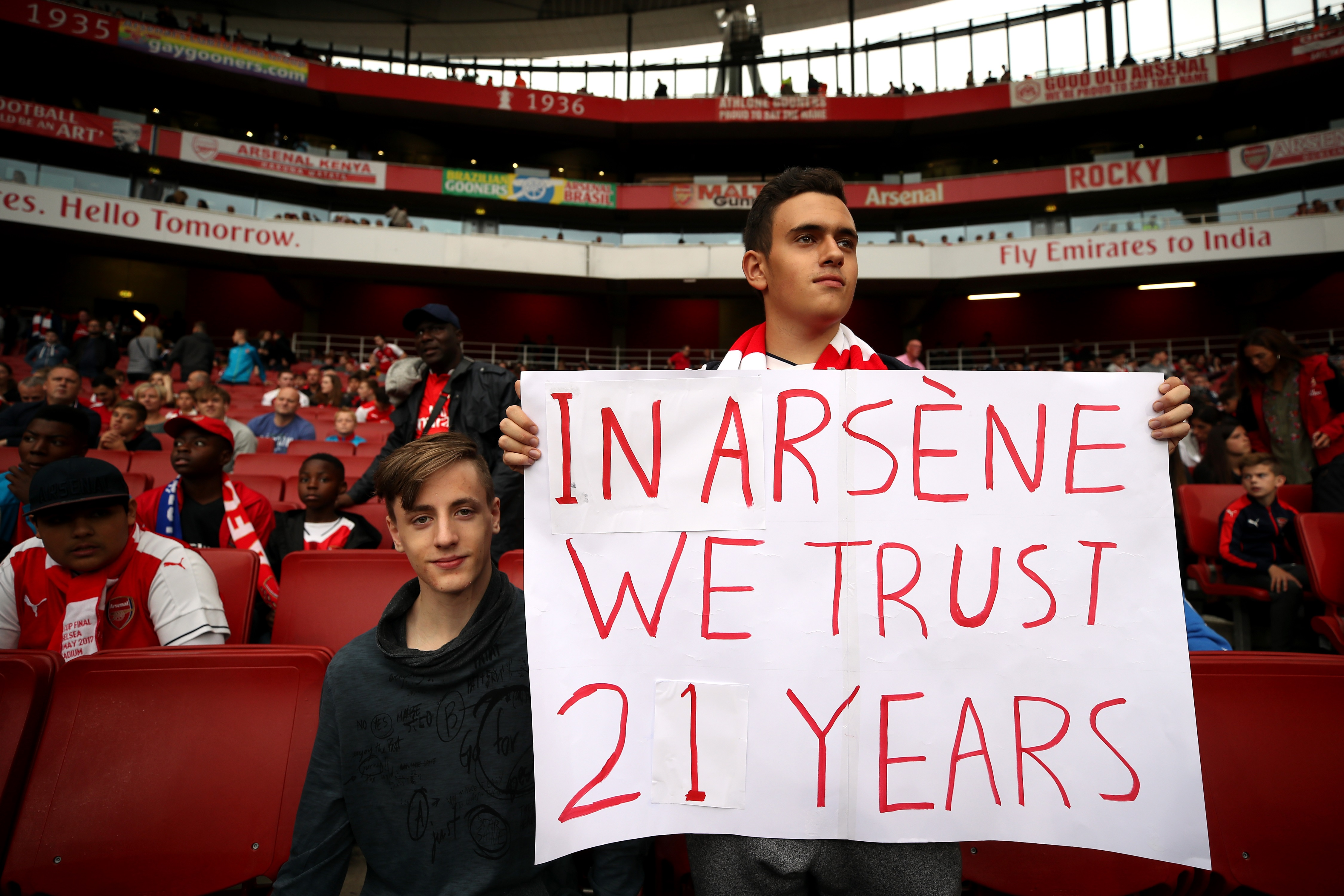 An Arsenal fan in the stands