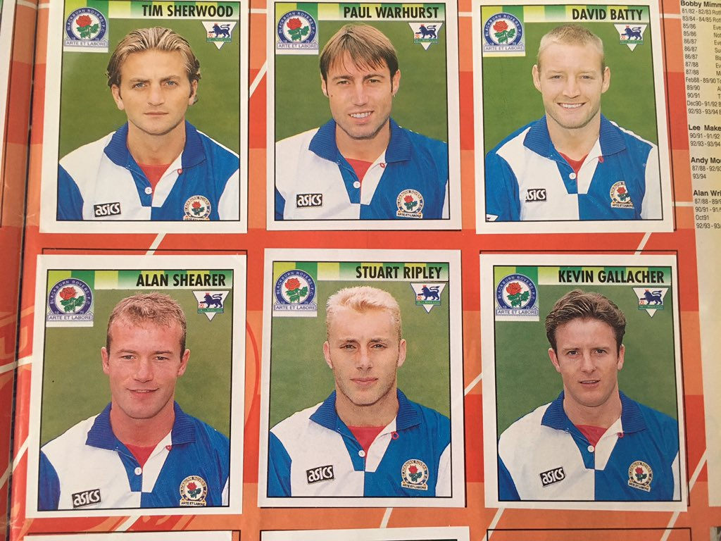 Blackburn Rovers footballers in a 1990s Premier League sticker album