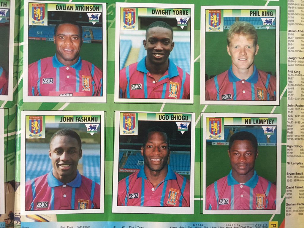 Aston Villa footballers in a 1990s Premier League sticker album