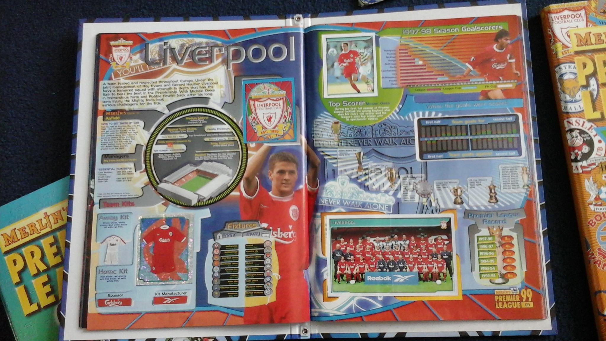 A Liverpool page in a 1990s Premier League sticker album