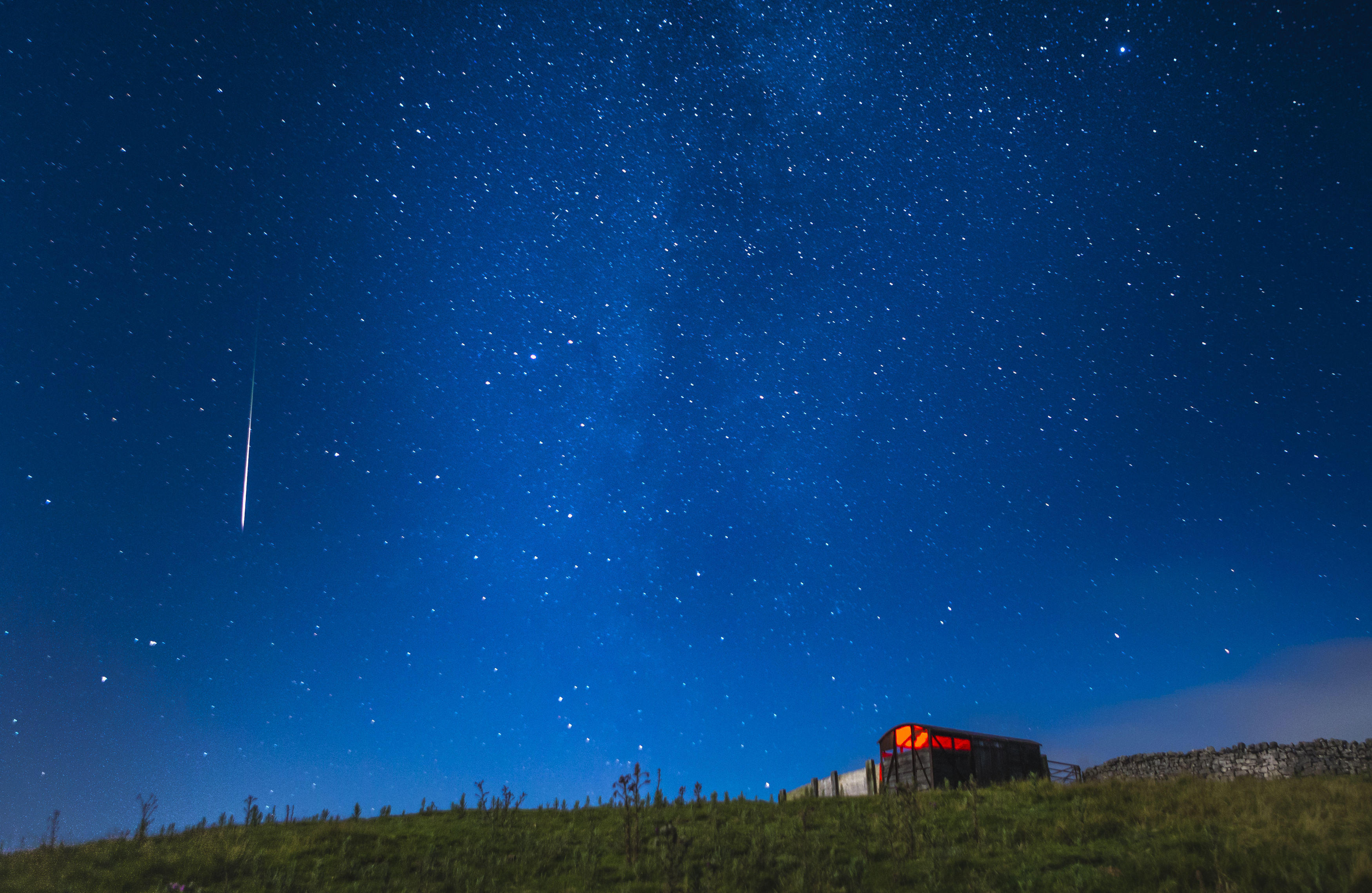 A meteor during the Perseid meteor shower seen from near Hawes in the Yorkshire Dales National Park