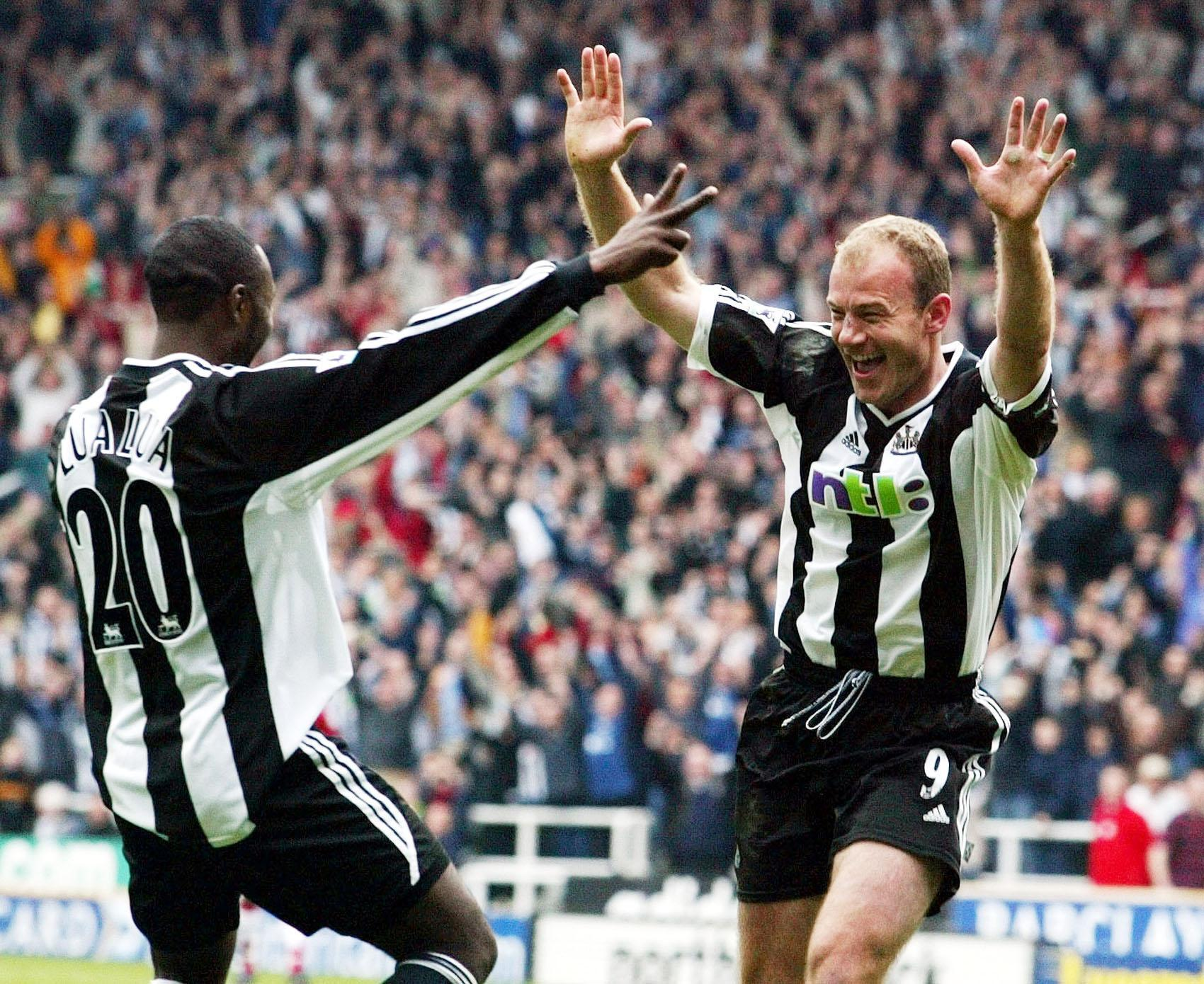 Alan Shearer celebrates scoring his 200th Premier League goal