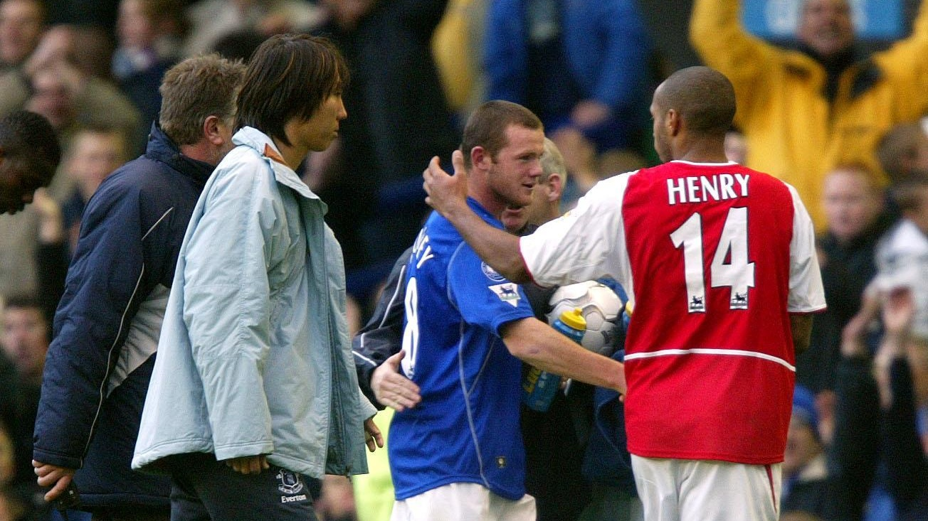 Everton's Wayne Rooney and Arsenal's Thierry Henry