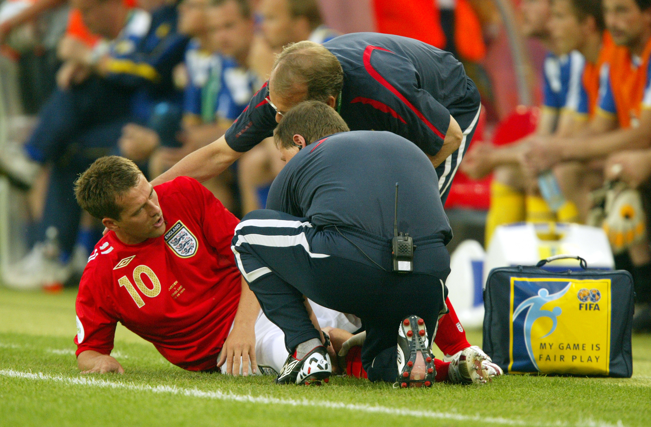 Michael Owen receives treatment for an injury at the 2006 World Cup