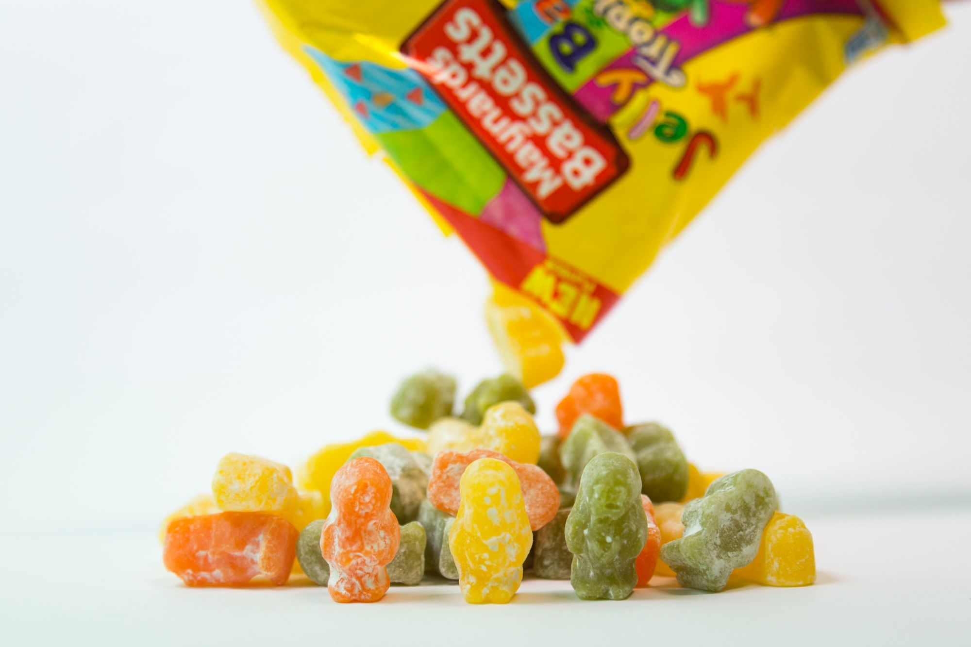 Jelly Babies falling out of a pack (Maynards Bassetts/PA)