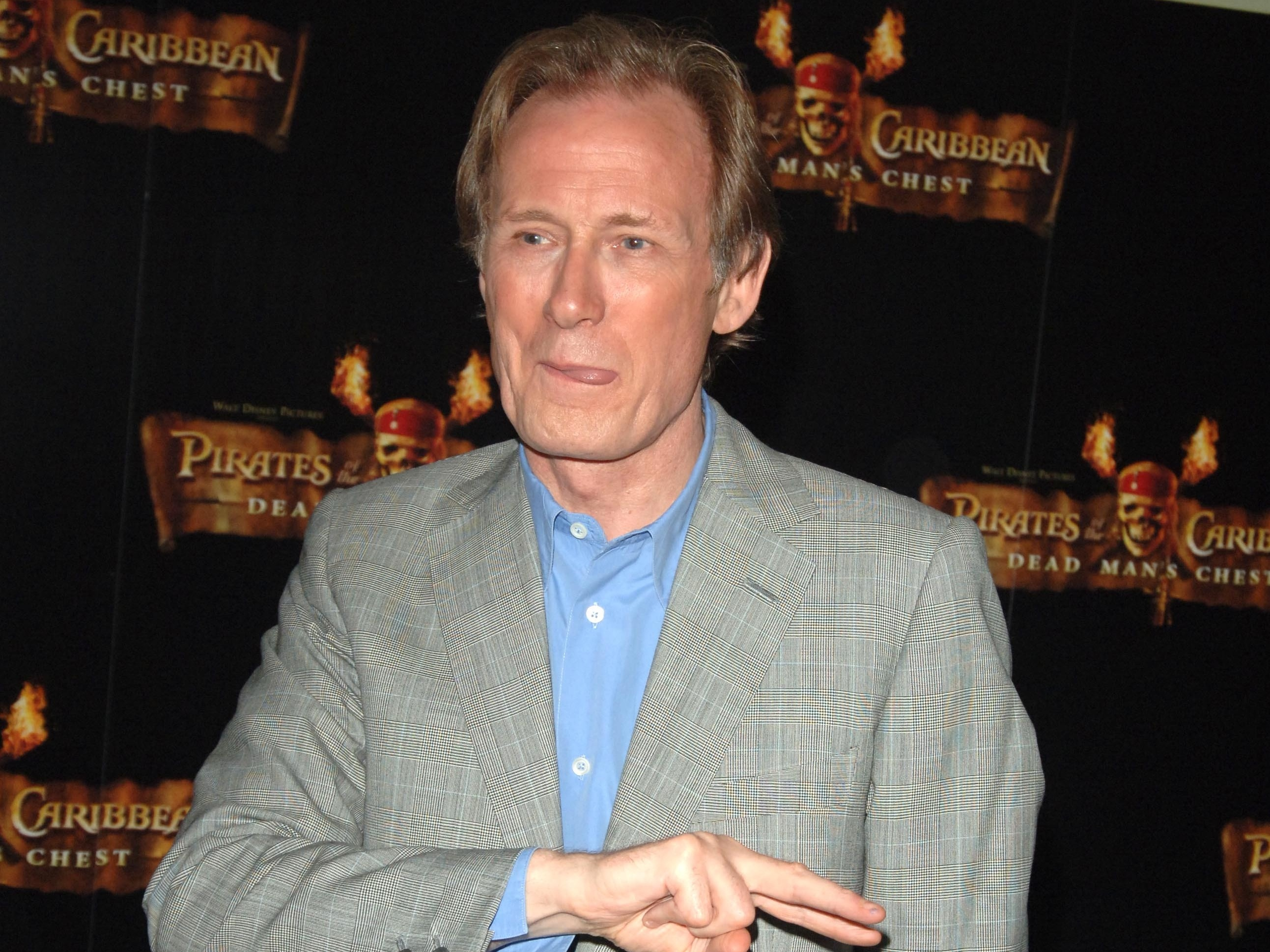 Nighy attends the launch of Pirates Of The Caribbean: Dead Man's Chest in 2006.