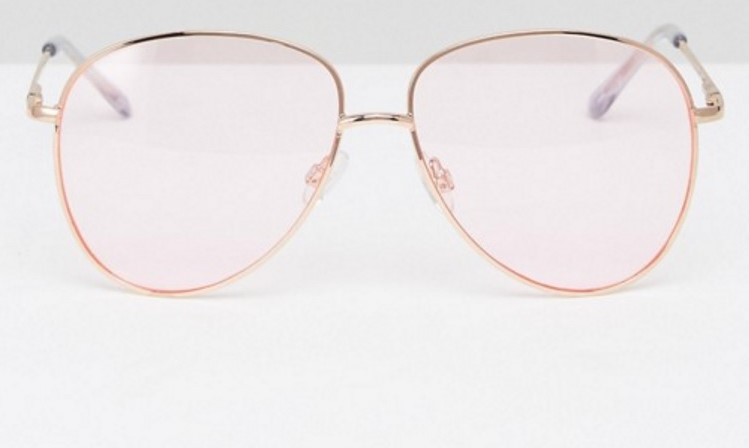 Aviator sunglasses in gold metal with pink lens, £10.00 (Asos)