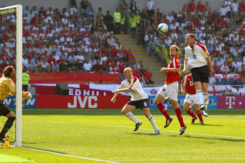 Wayne Rooney scores against Switzerland at Euro 2004