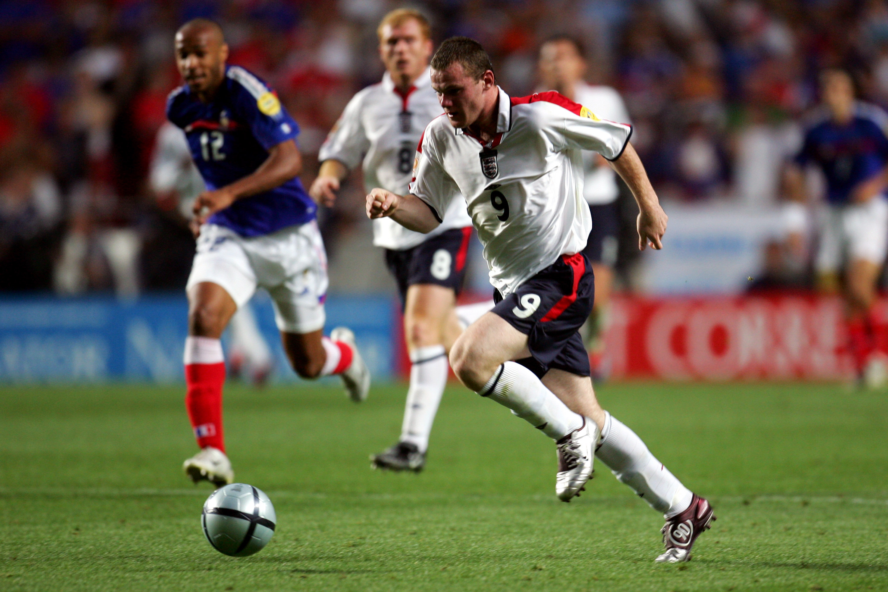 Wayne Rooney plays against France at Euro 2004
