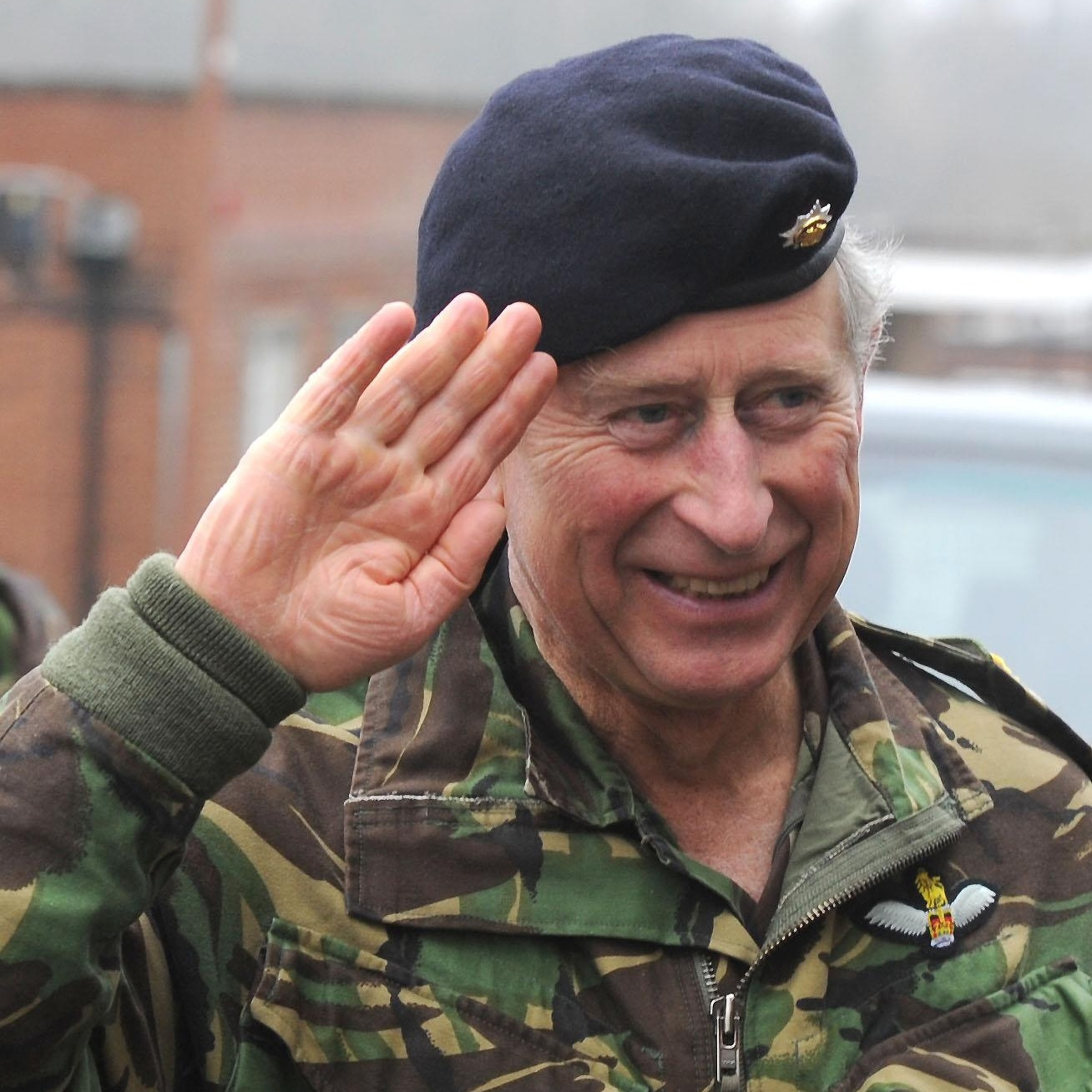 Prince Charles saluting in an Army uniform