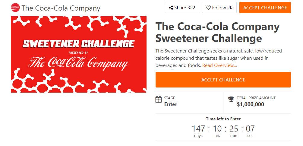Screengrab of The Sweetener Challenge on HeroX from The Coca-Cola Company