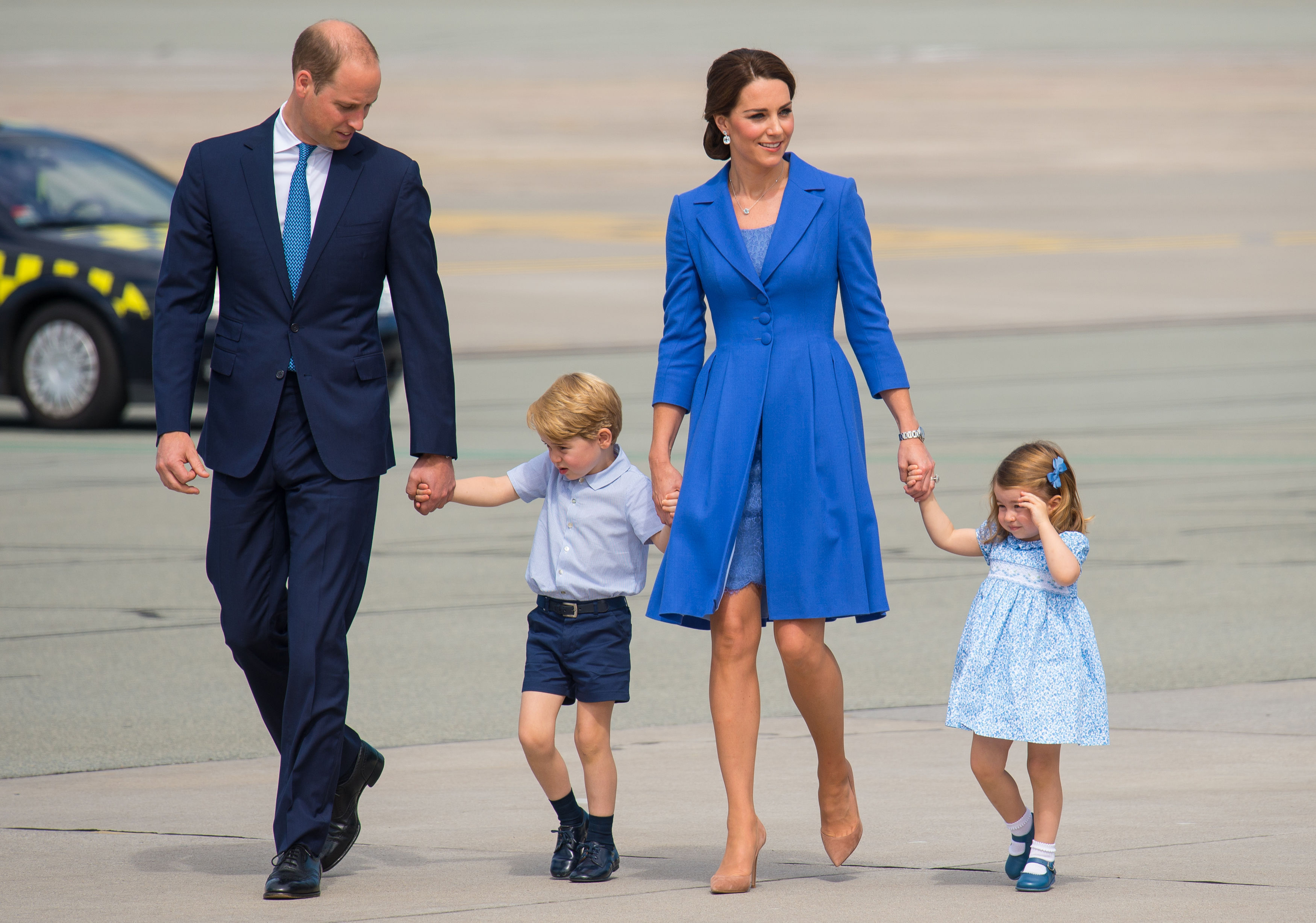 Duke and Duchess of Cambridge Prince George and Princess Charlotte departing from Chopin airport
