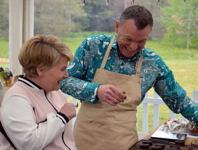 The Great British Bake Off: Episode 2 - Chris shares a joke with Sandi (Love Productions / Channel 4 Television)