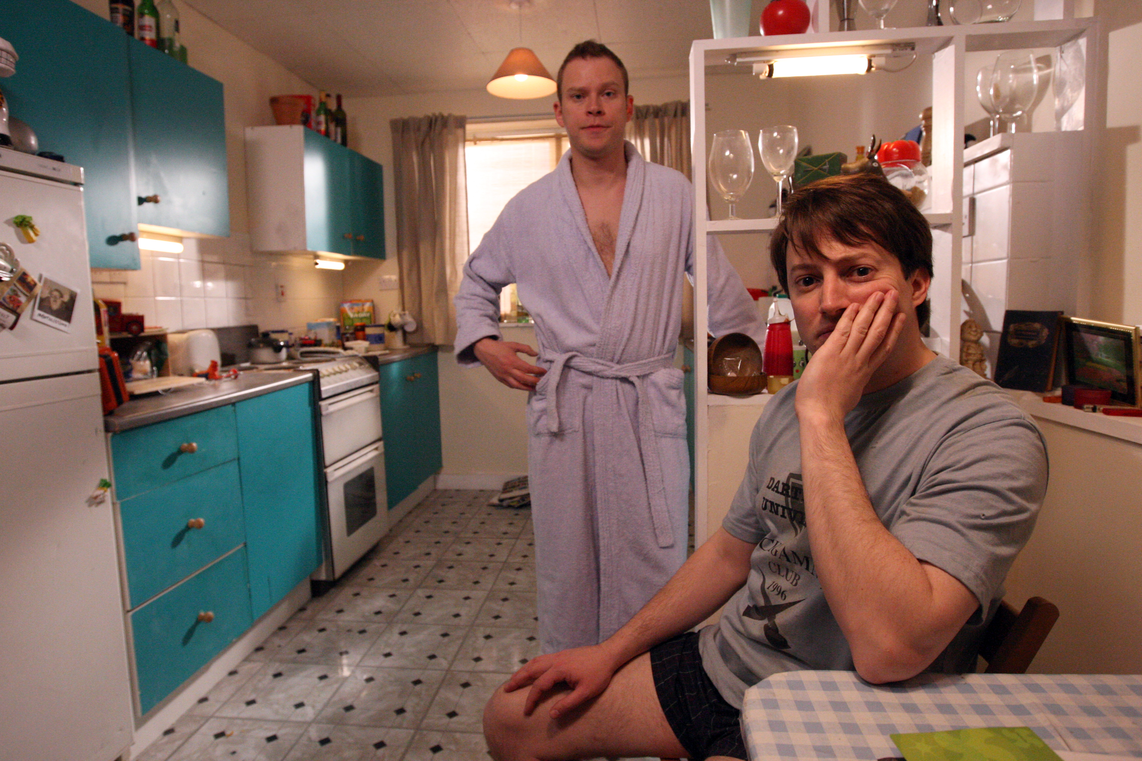 David Mitchell and Robert Webb on set in North London filming the new series of Peep Show