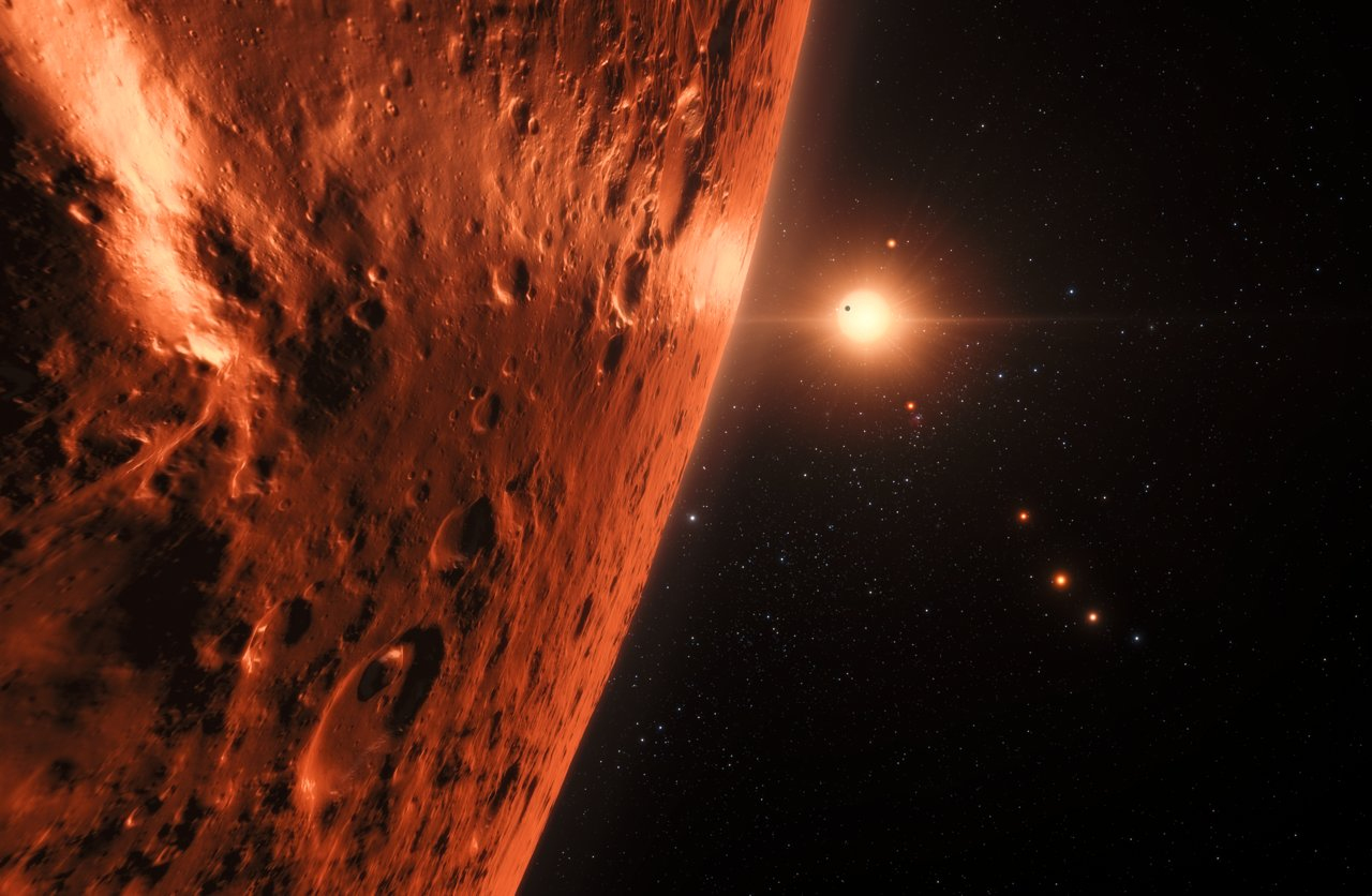 Artist impression showing the view just above the surface of one of the planets in the TRAPPIST-1 system