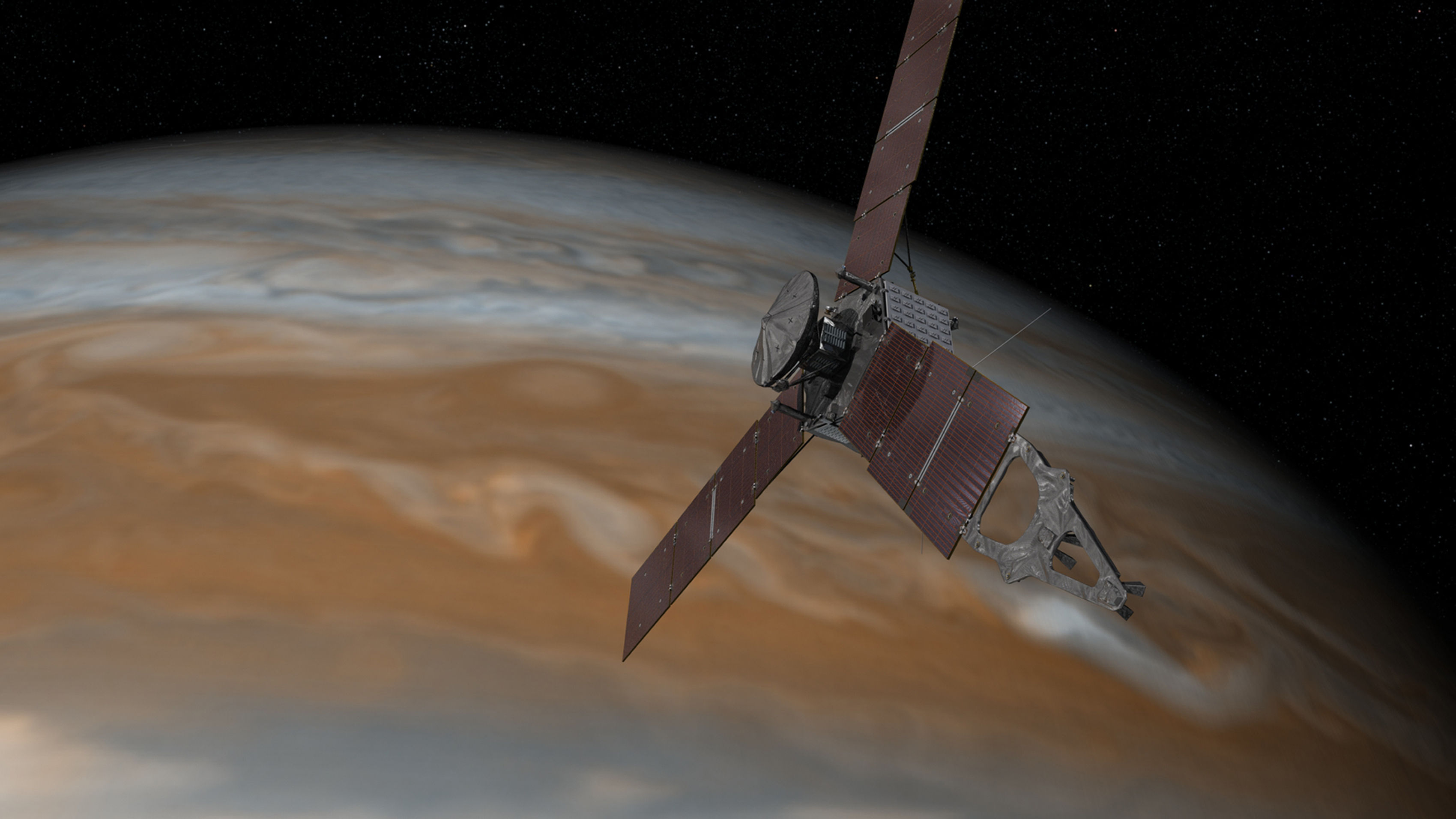 Artist's impression issued by NASA of the Juno spacecraft approaching Jupiter
