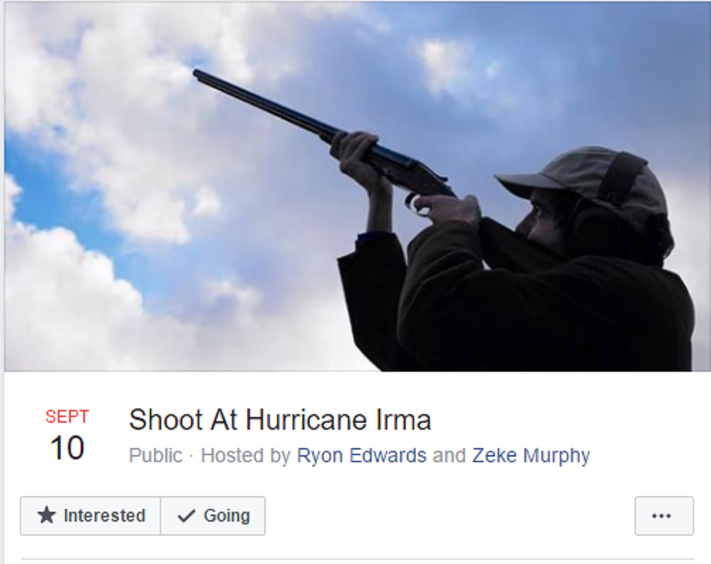 A Facebook group called 'Shoot at Hurricane Irma'