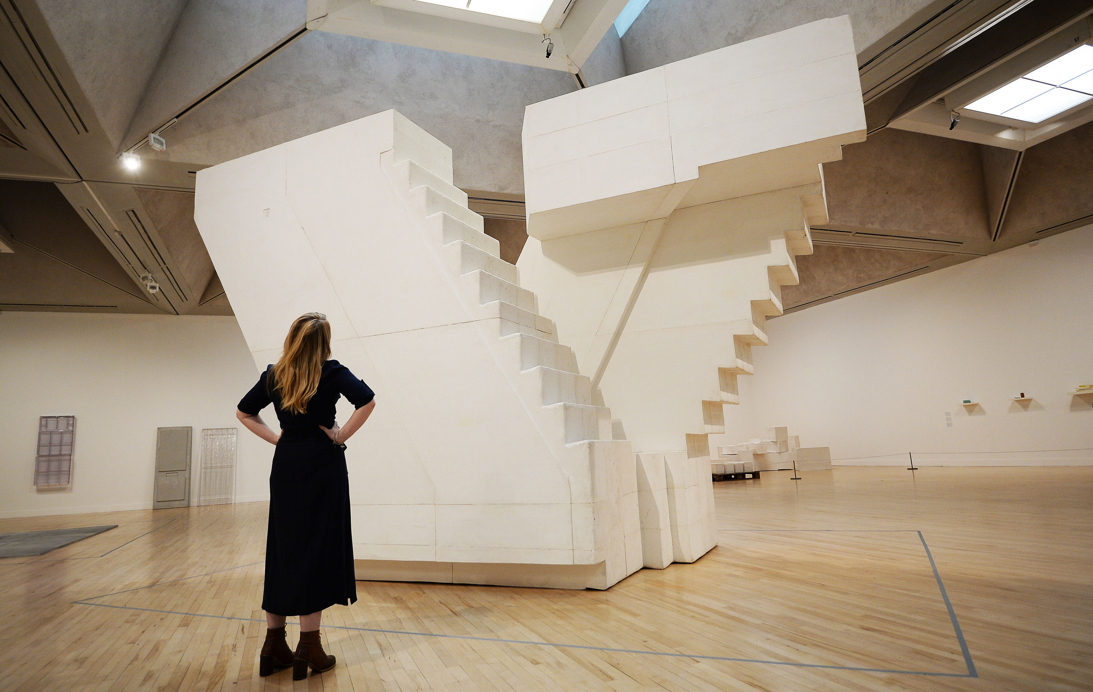 A Woman Looks At Stairs On Display At Tate Britain (John Stillwell/PA)