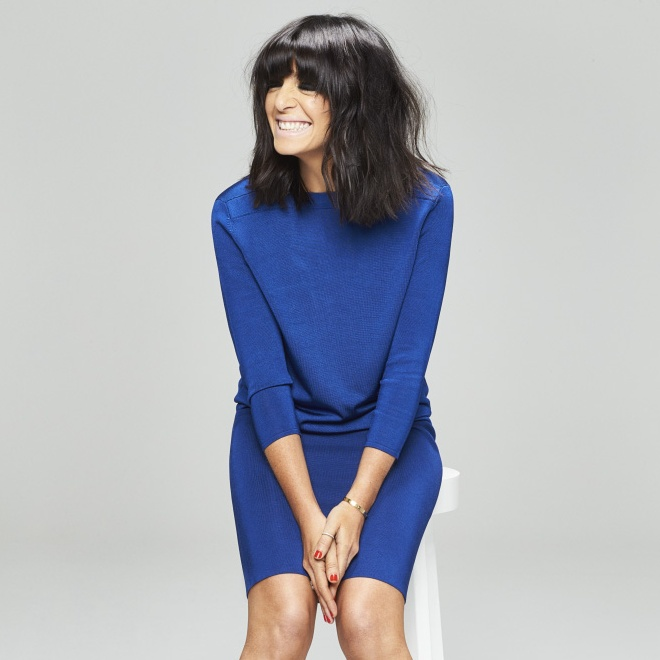 Claudia Winkleman wearing a blue dress