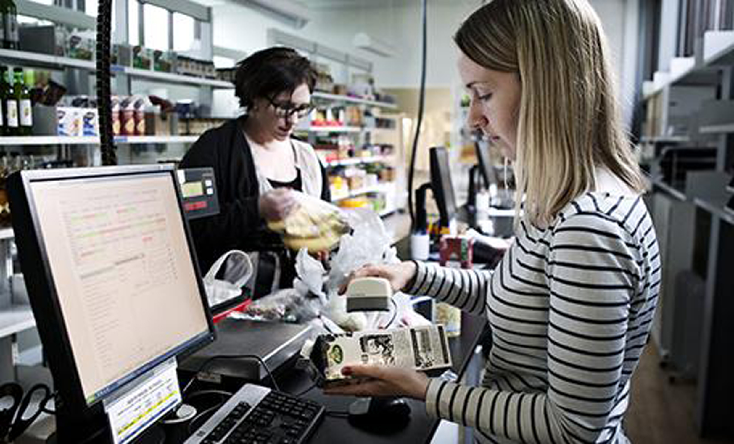 The subjects picking up their food in a scientific supermarket at the University of Copenhagen.
